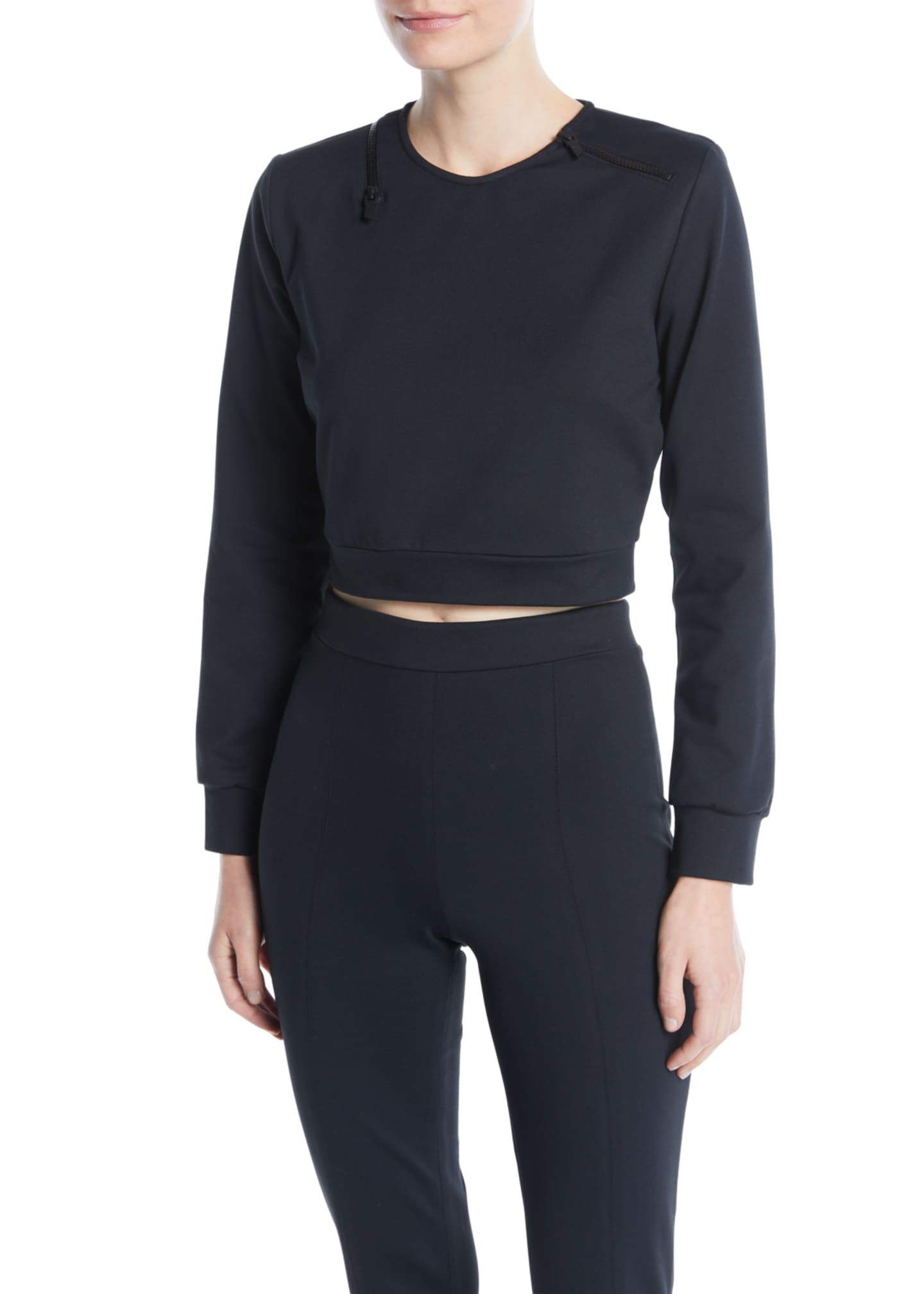 CUSHNIE Arizona Cropped Crewneck Top w/ Zipper