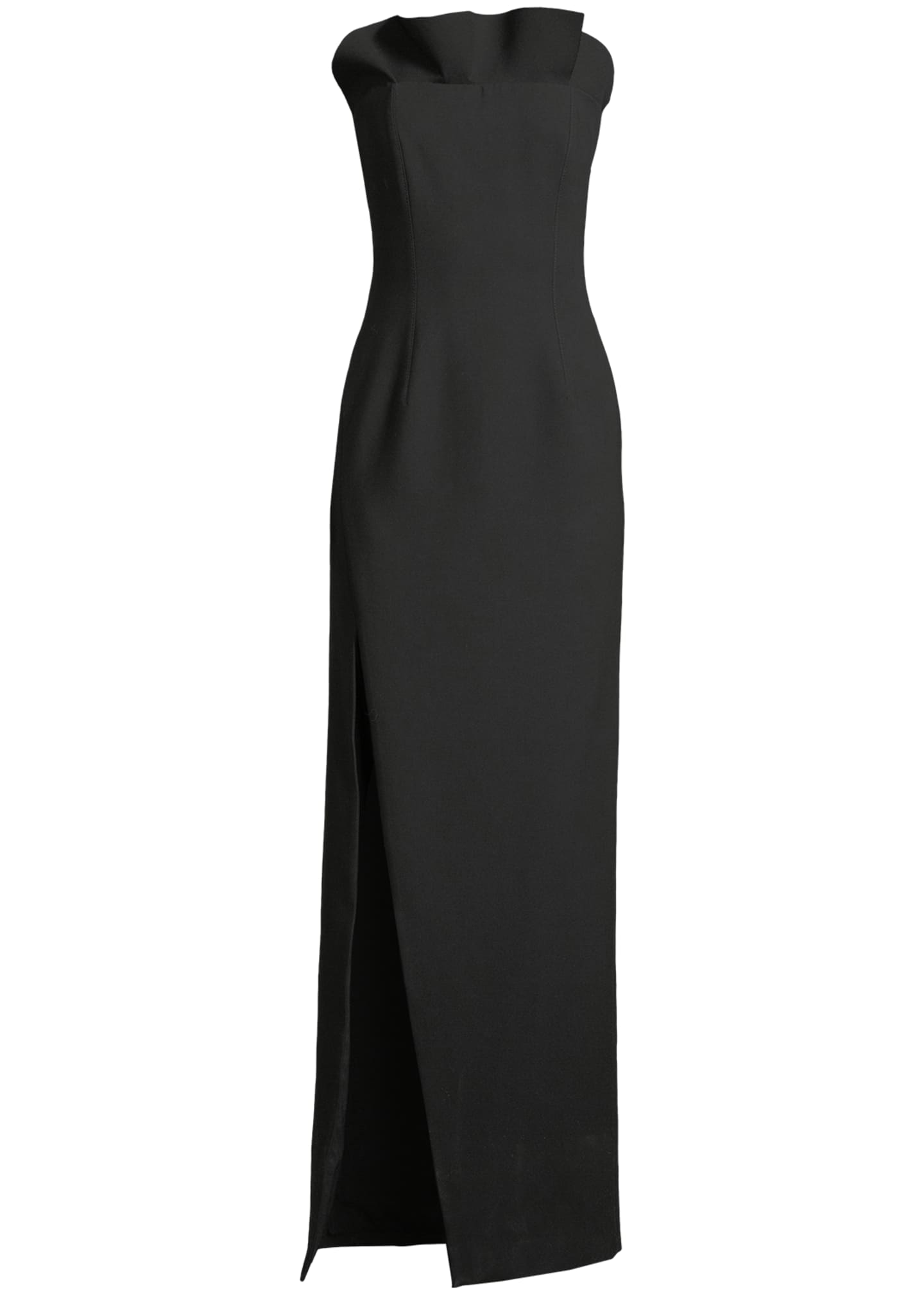 Image 4 of 4: Kiera Strapless Side-Slit Frill Gown