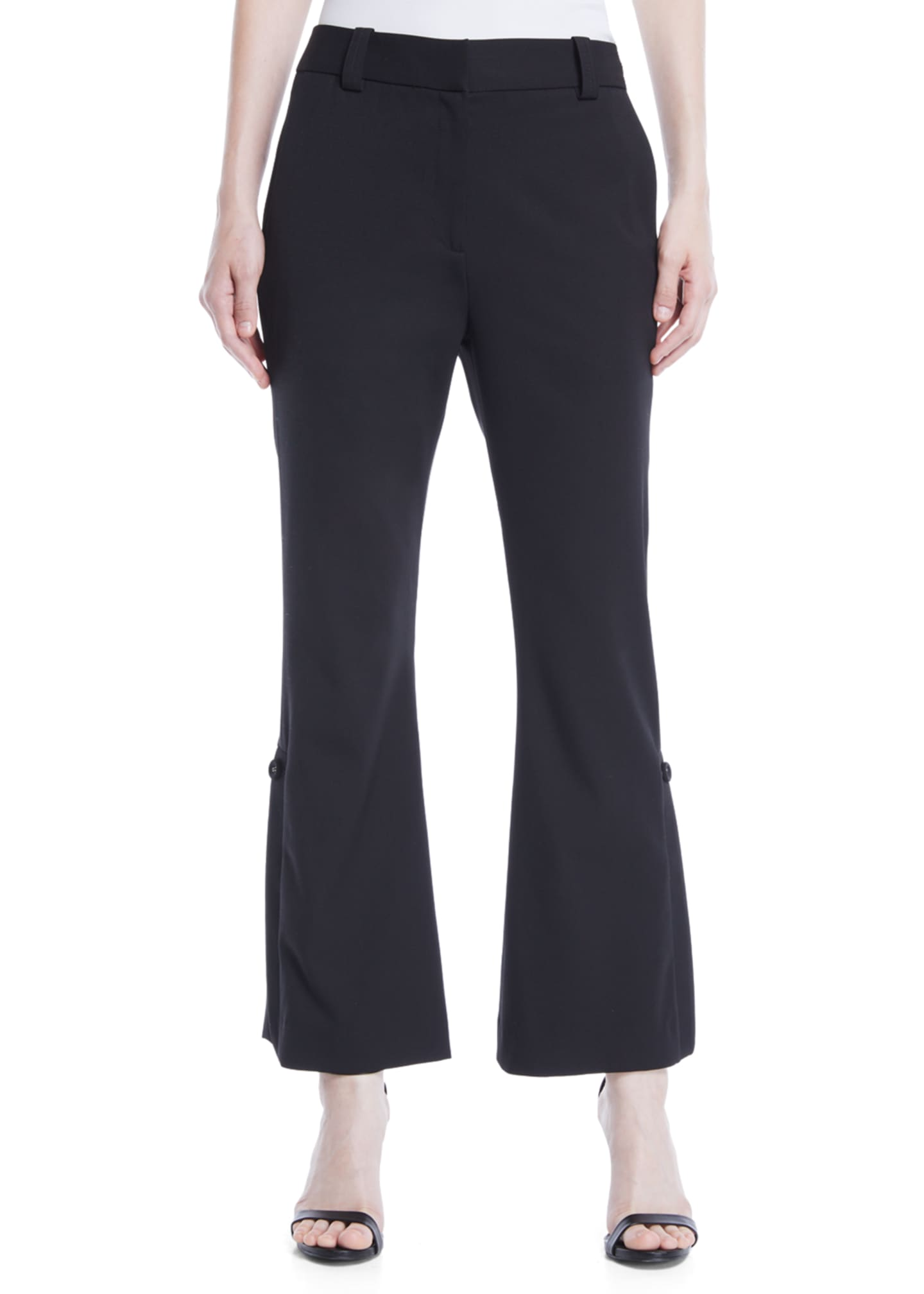 Proenza Schouler Mid-Rise Flared-Leg Stretch-Wool Cropped Pants