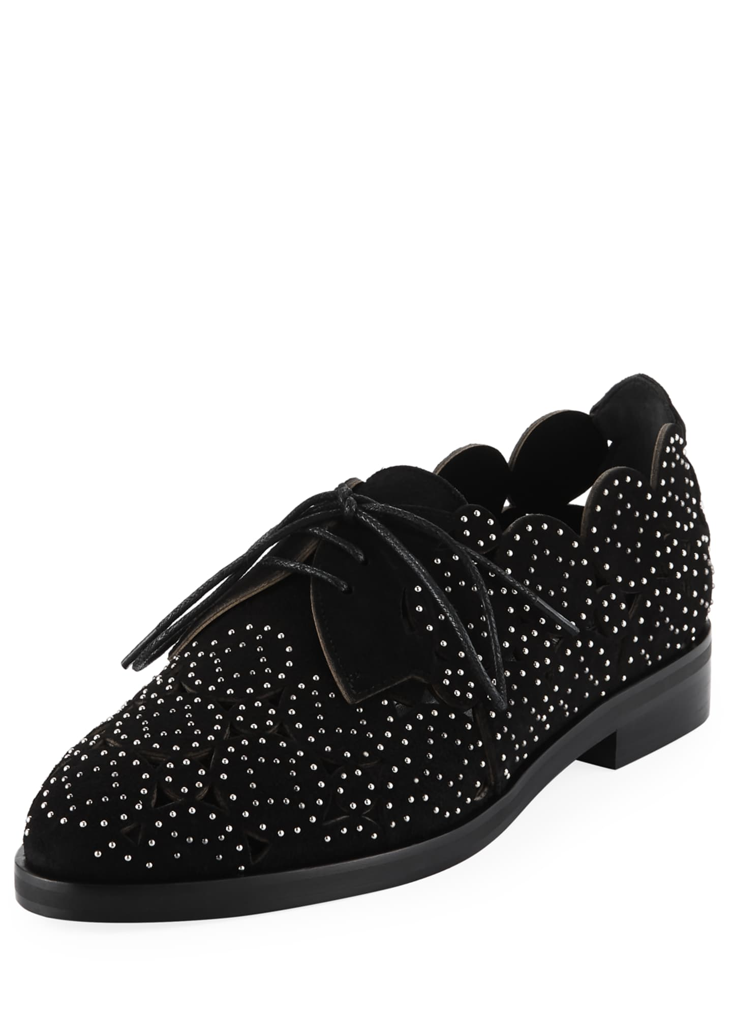 ALAIA Laser-Cut Studded Loafers