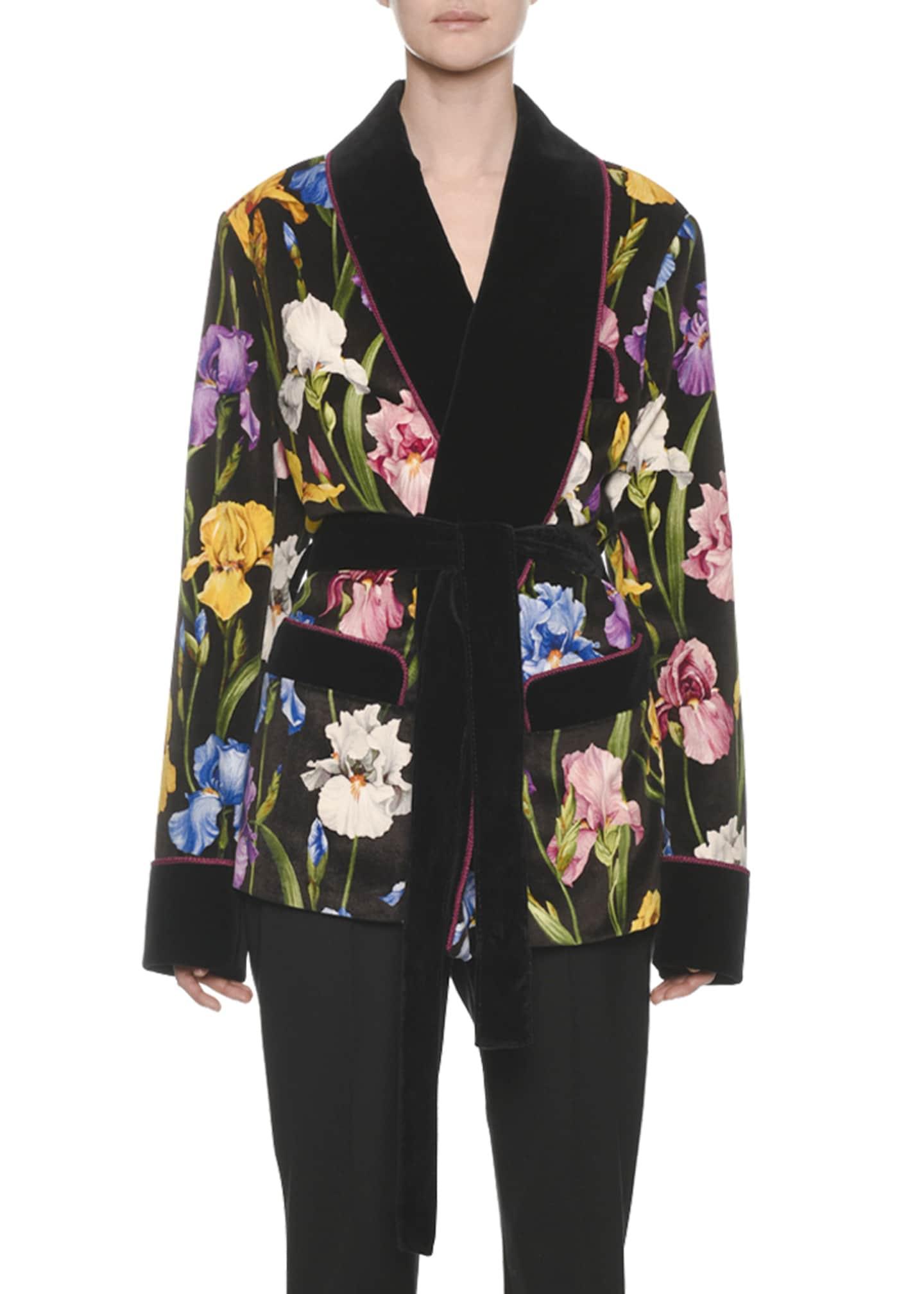 Dolce & Gabbana Iris-Print Velvet Short Robe Jacket