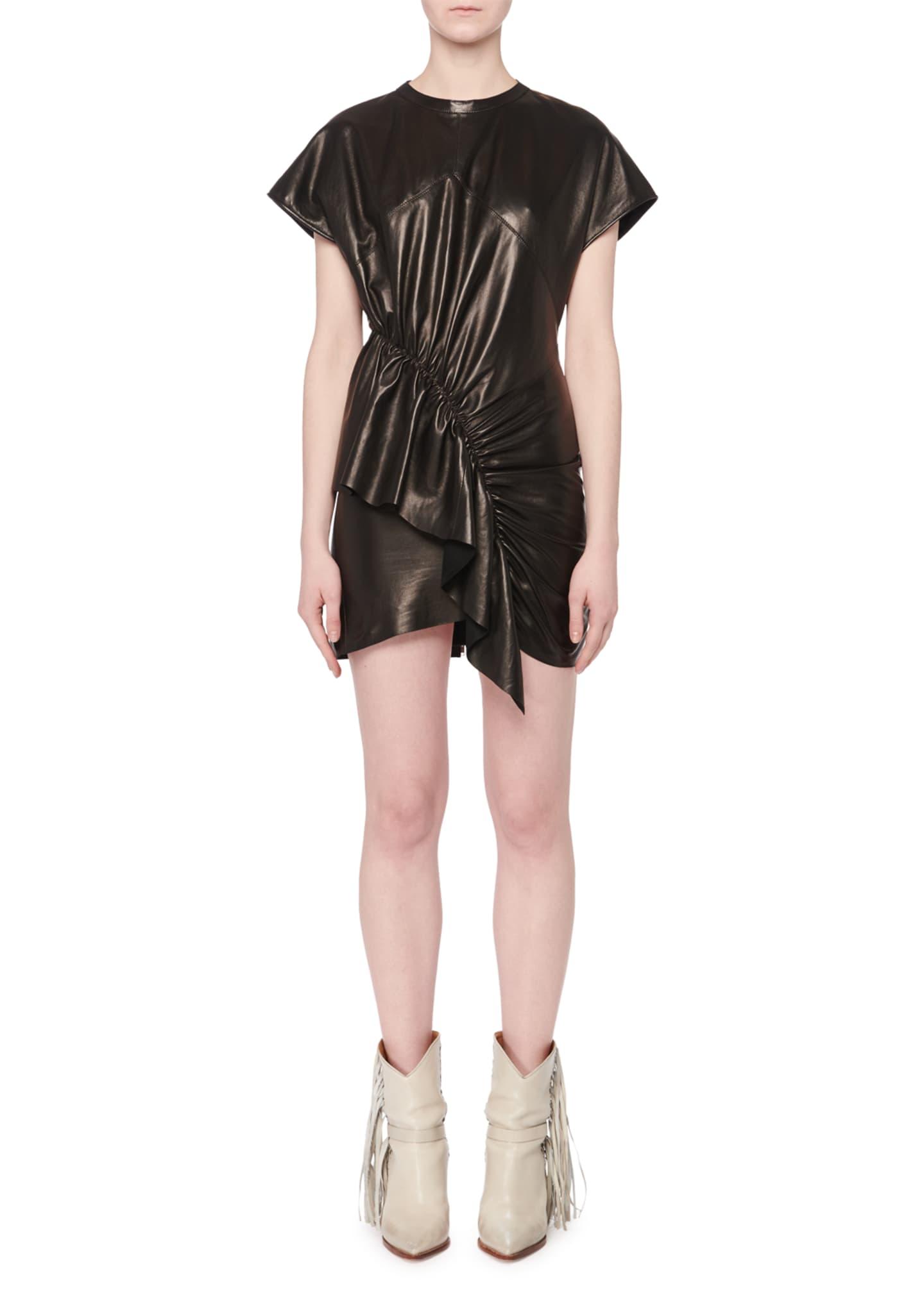Isabel Marant Asymmetric-Front Short-Sleeve Lamb Leather Mini