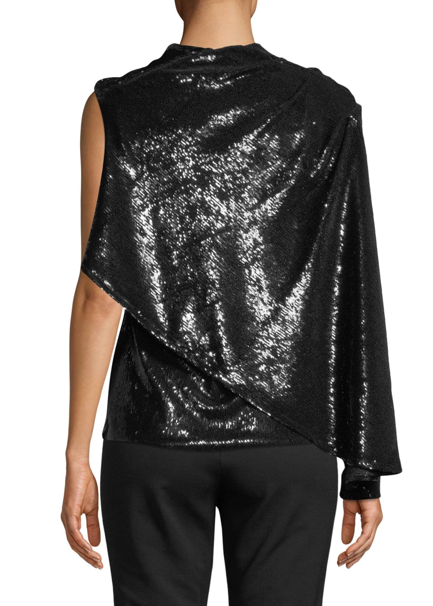 Image 2 of 3: Draped Sequined Asymmetric Blouse