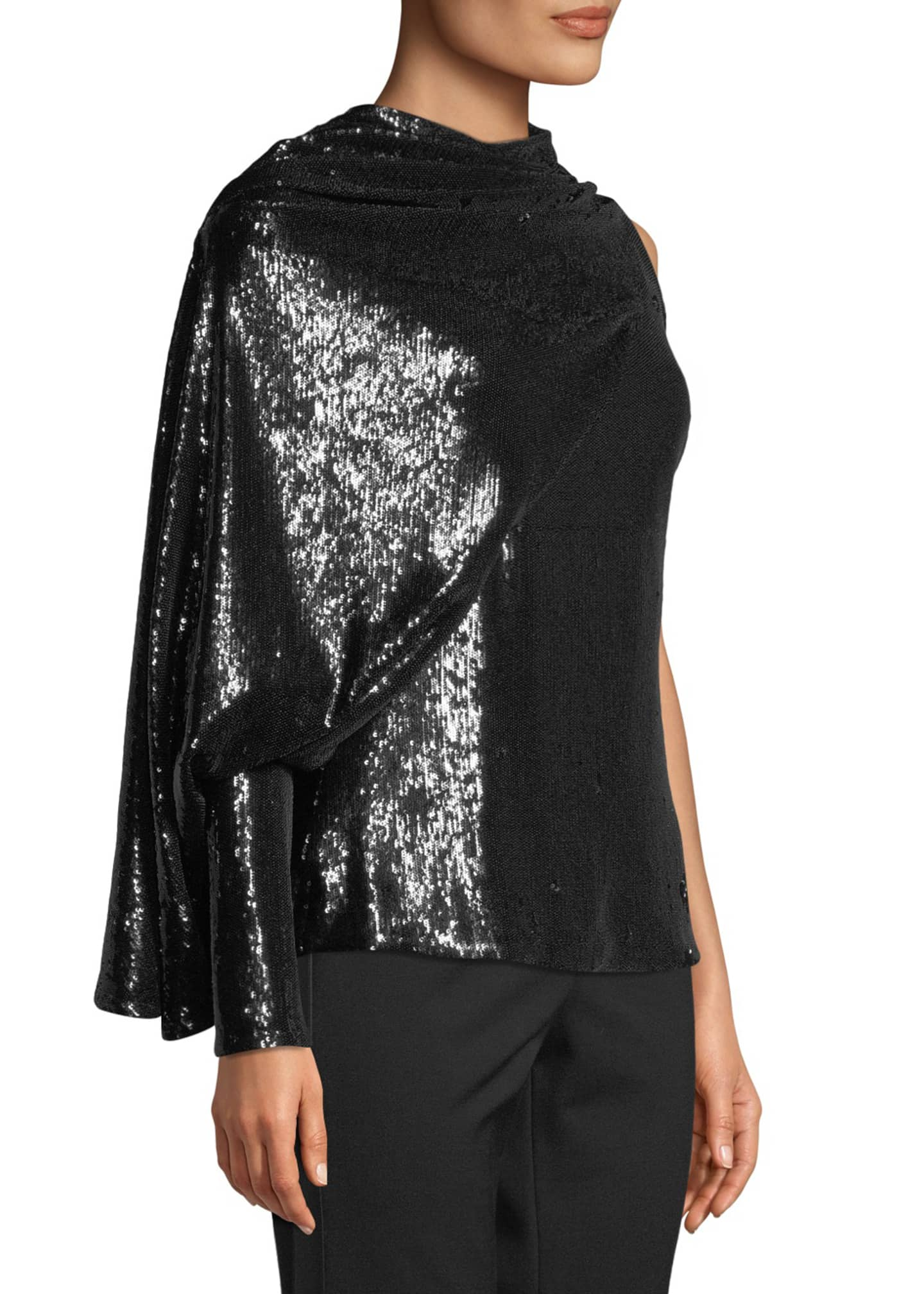 Image 3 of 3: Draped Sequined Asymmetric Blouse