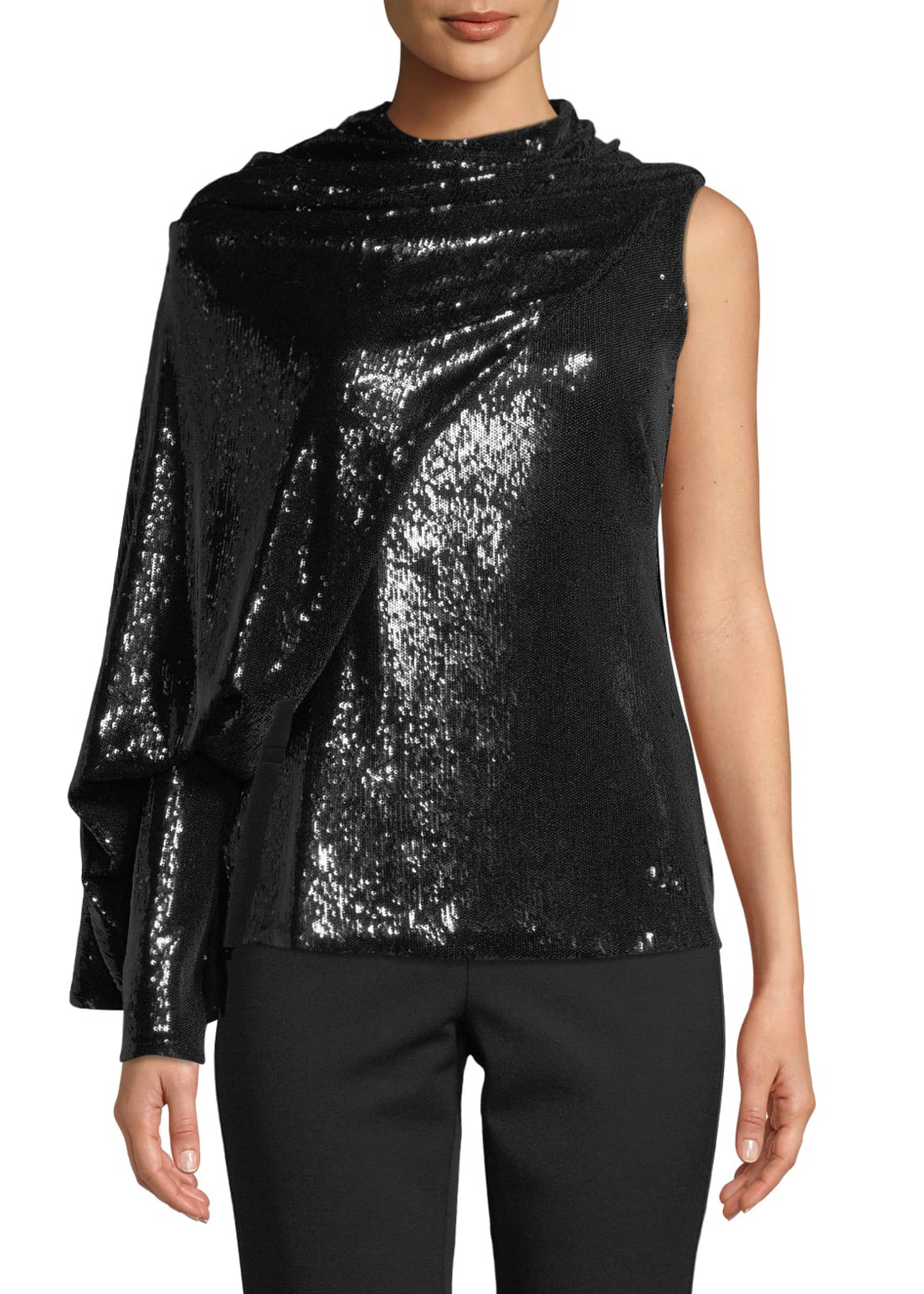 Image 1 of 3: Draped Sequined Asymmetric Blouse