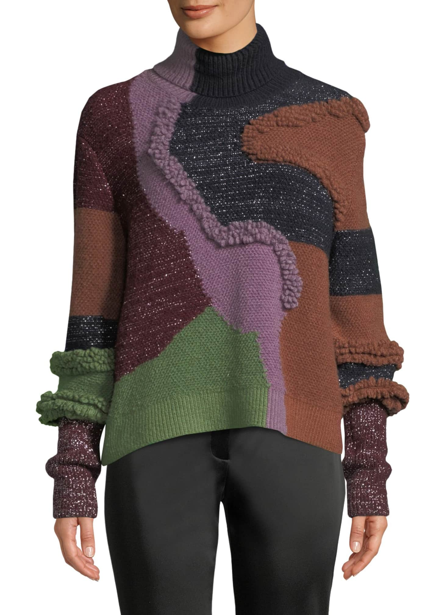 Peter Pilotto Turtleneck Patchwork Knit Pullover Sweater w/