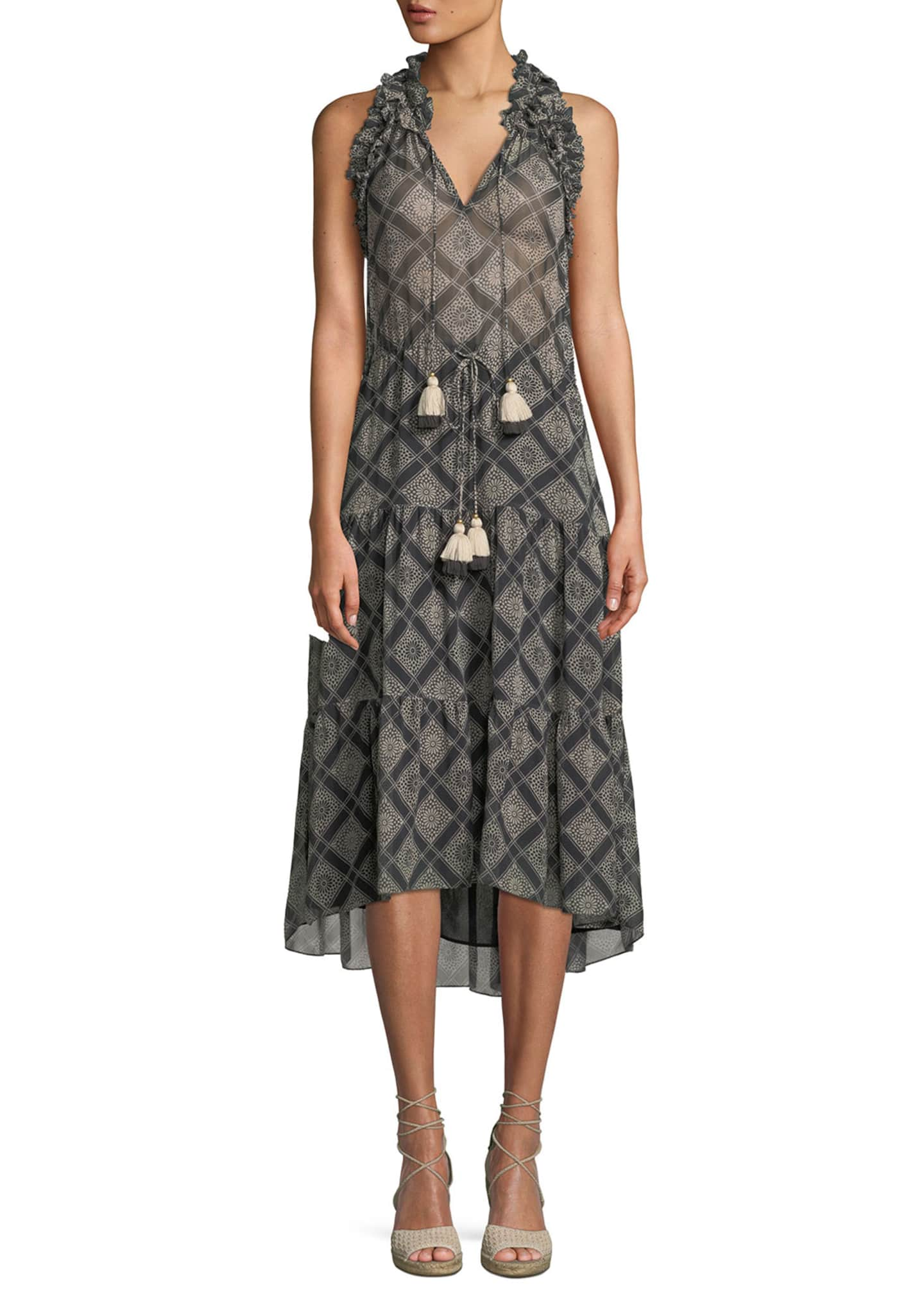 Figue Babriella Sleeveless Tassel-Tie Printed Georgette Dress