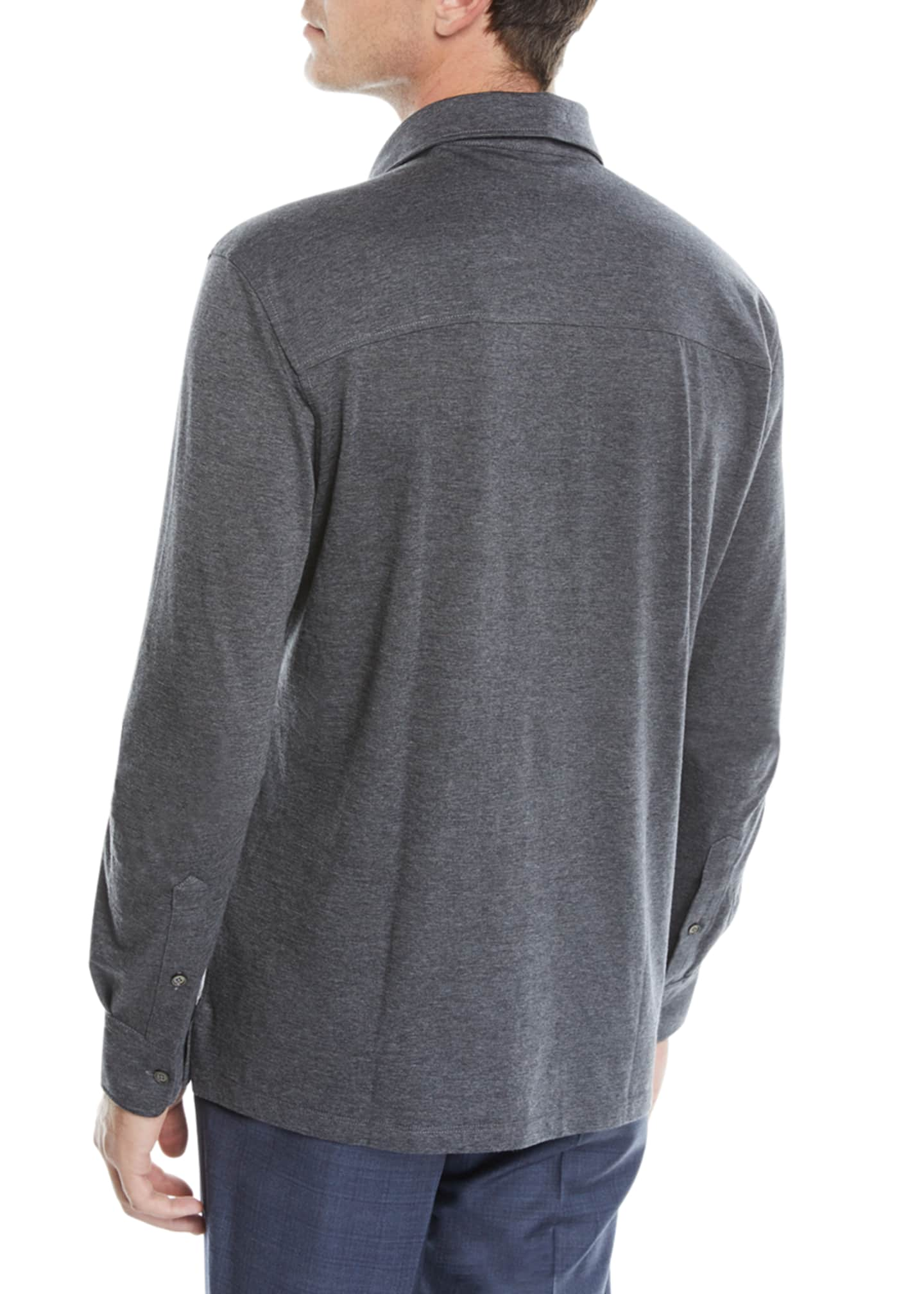 Image 2 of 2: Men's Cotton-Blend Long-Sleeve Polo Shirt