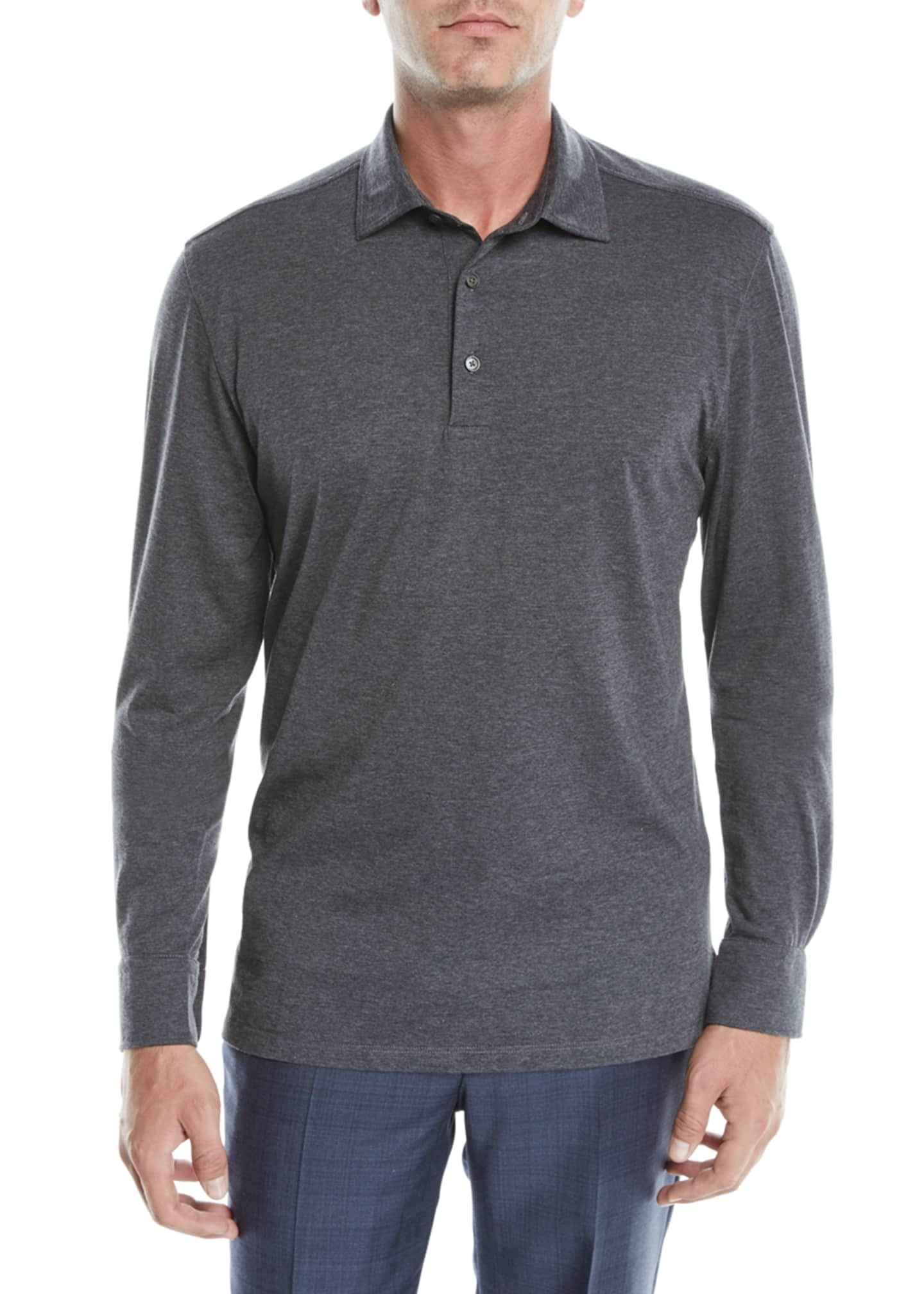 Image 1 of 2: Men's Cotton-Blend Long-Sleeve Polo Shirt