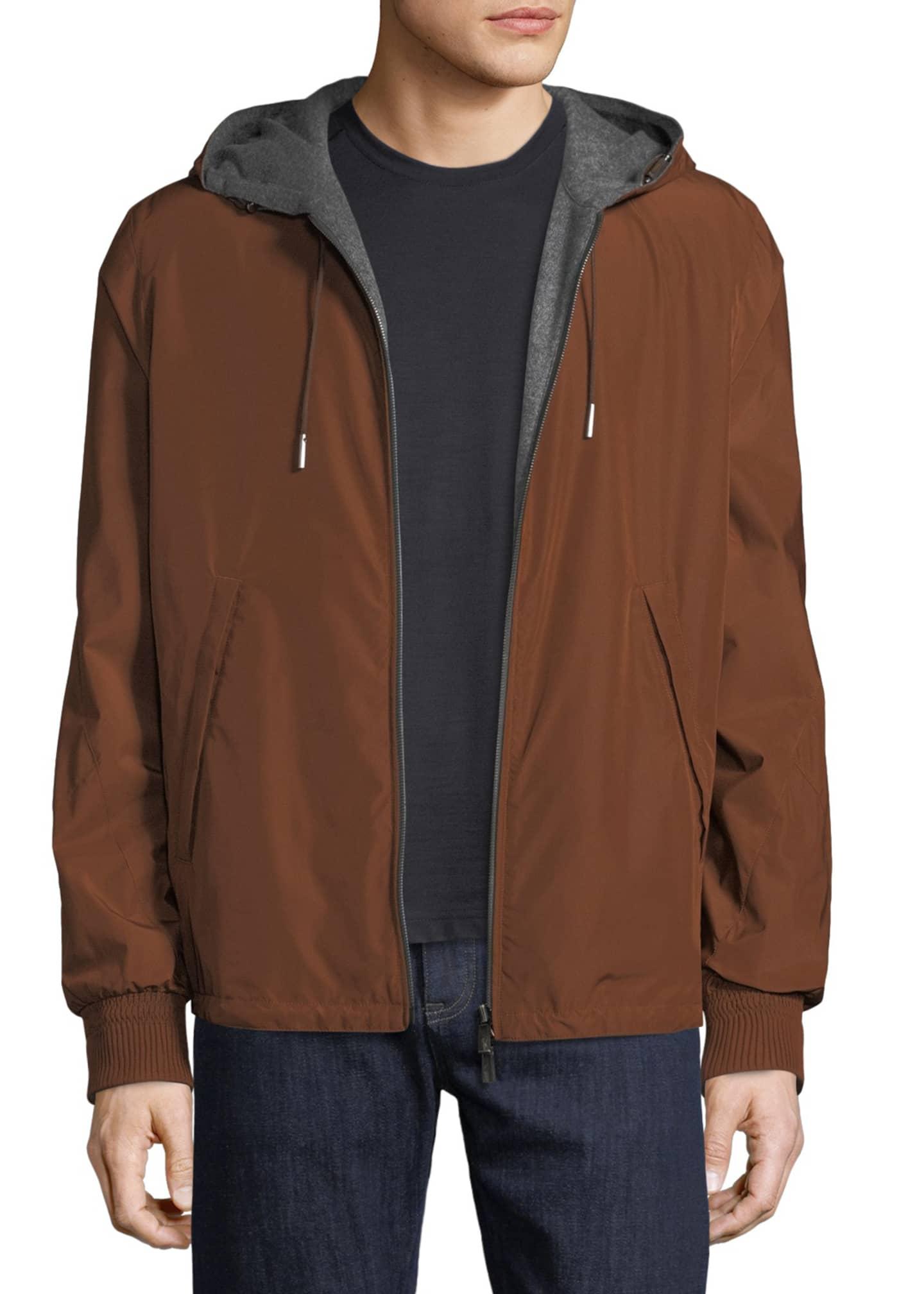 Ermenegildo Zegna Men's Reversible Blouson Jacket with Hoodie