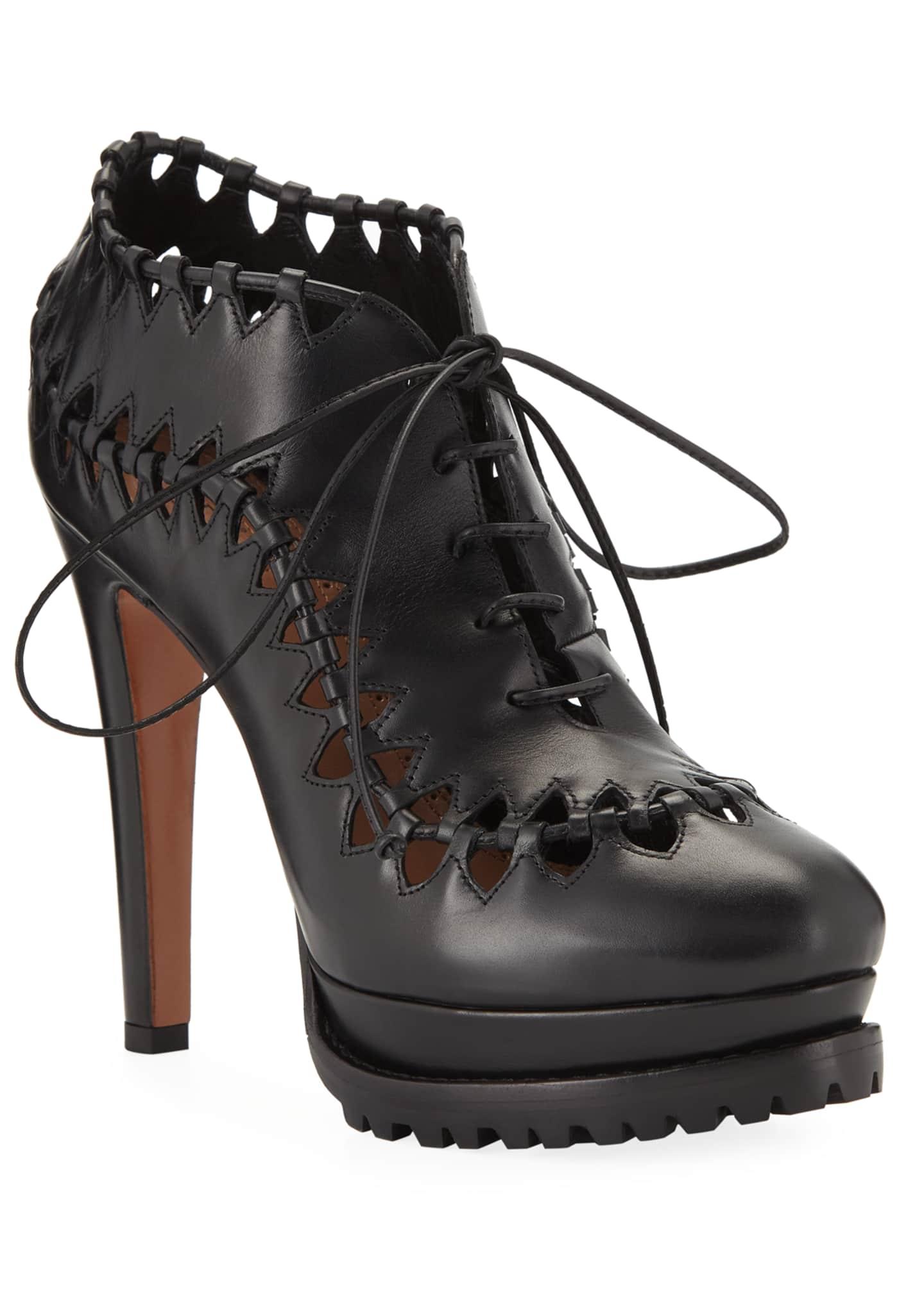 ALAIA Cutout Platform Leather Booties