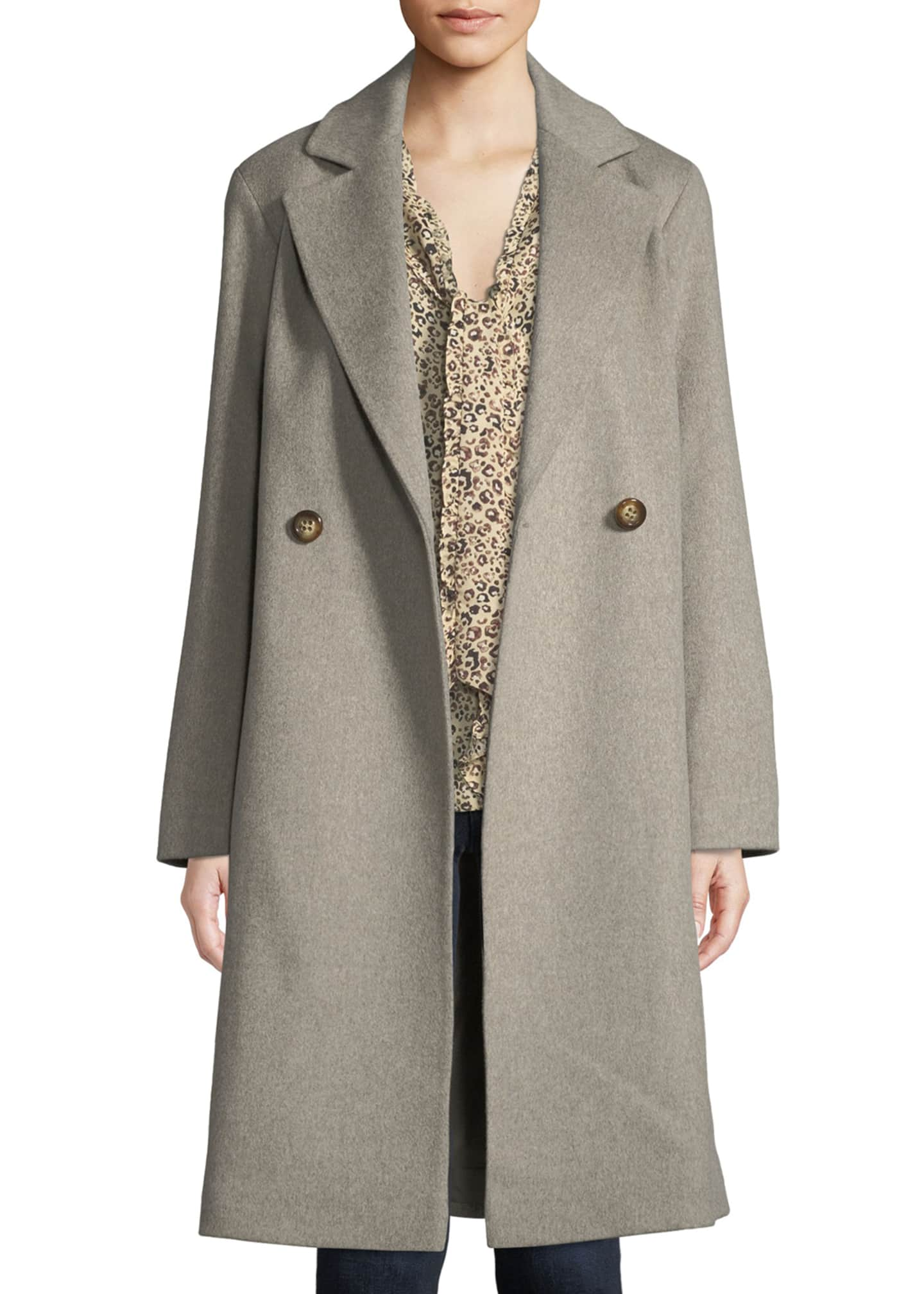 Image 3 of 3: Long Double-Breasted Wool Coat