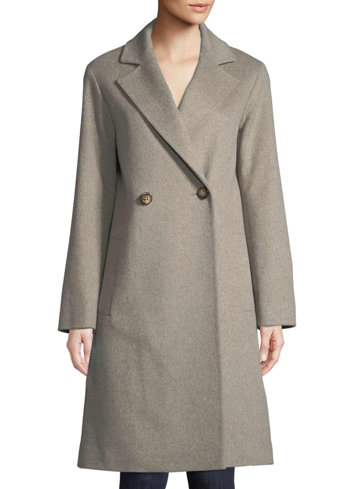 Image 1 of 3: Long Double-Breasted Wool Coat
