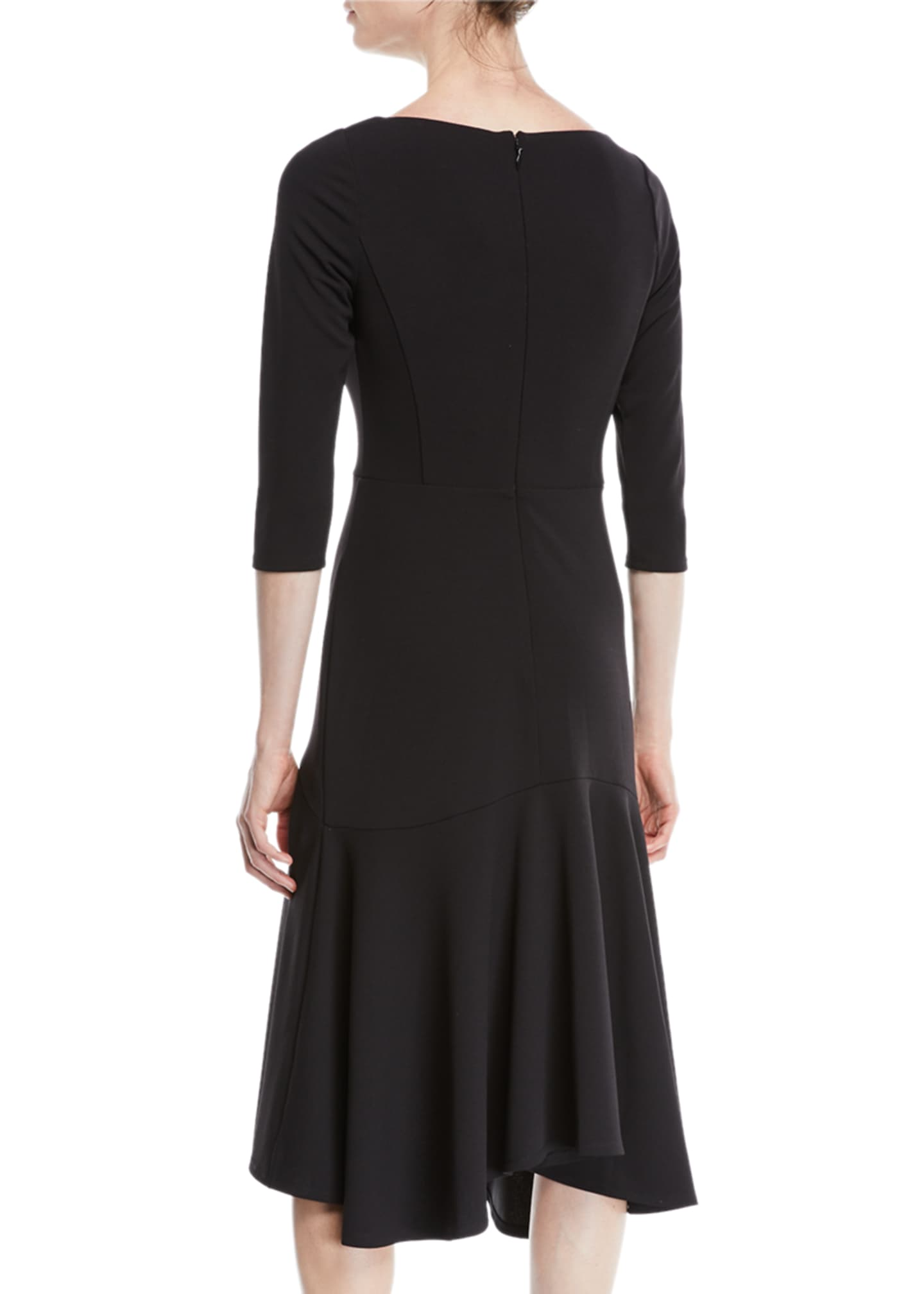 Image 2 of 2: V-Neck Midi Dress w/ Flounce Skirt