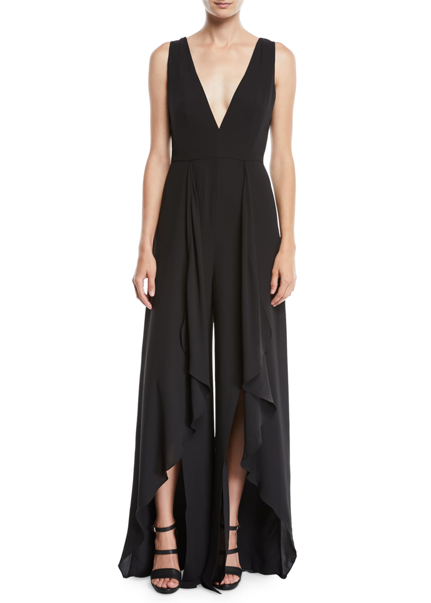 Image 1 of 2: Flowy Jumpsuit w/ Draped Front