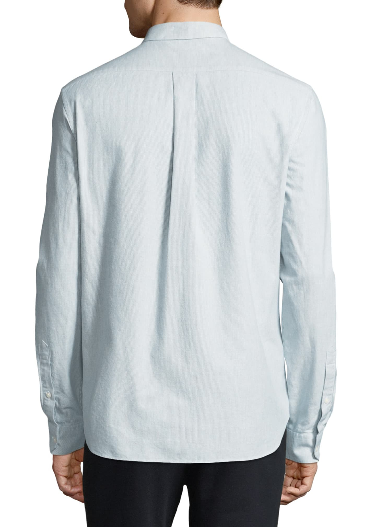 Image 2 of 4: Men's Micro-Stripe Long-Sleeve Button-Front Cotton Shirt