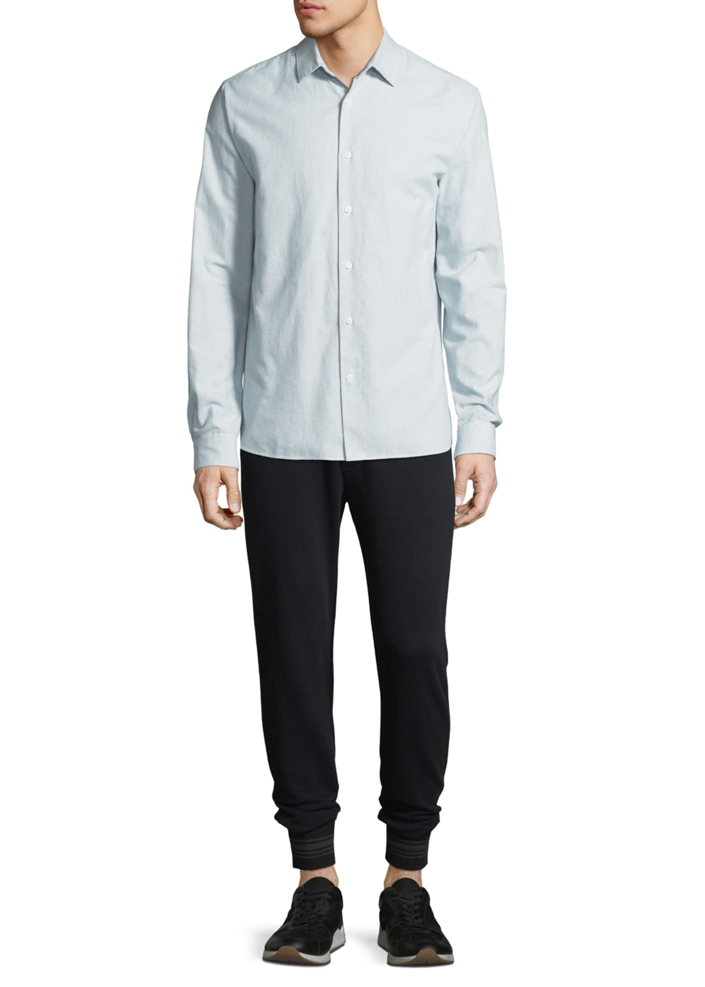 Image 3 of 4: Men's Micro-Stripe Long-Sleeve Button-Front Cotton Shirt