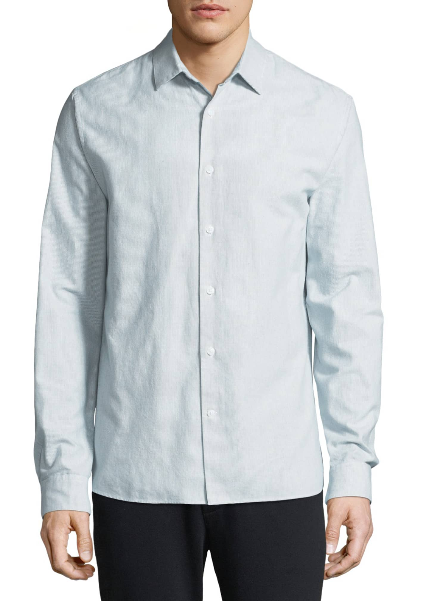 Image 1 of 4: Men's Micro-Stripe Long-Sleeve Button-Front Cotton Shirt