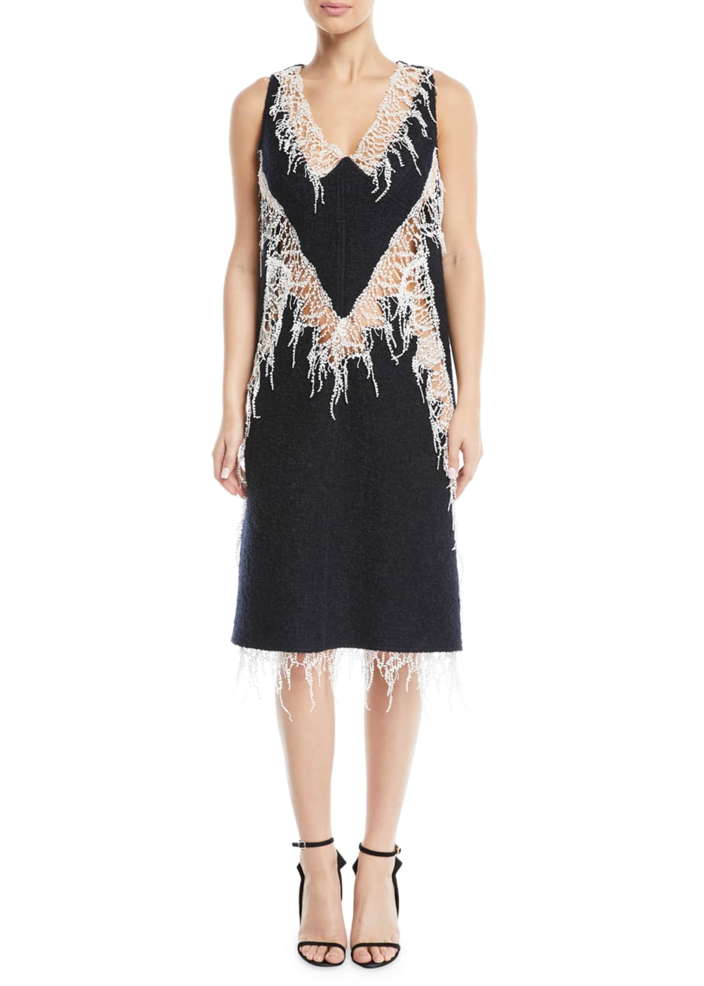 CALVIN KLEIN 205W39NYC V-Neck Sleeveless Wool Boucle Dress