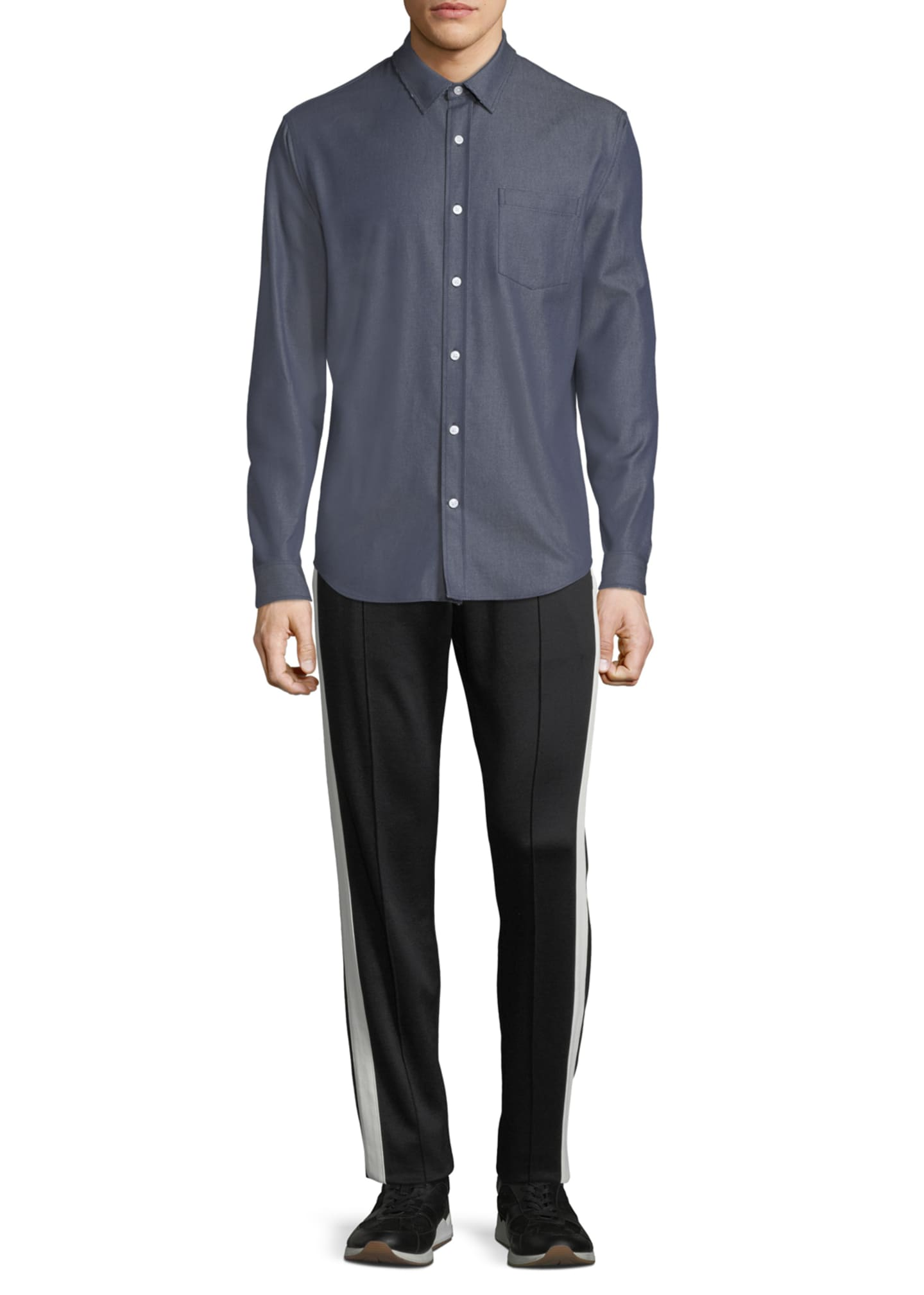 Image 3 of 4: Men's Button-Front Long-Sleeve Twill Shirt