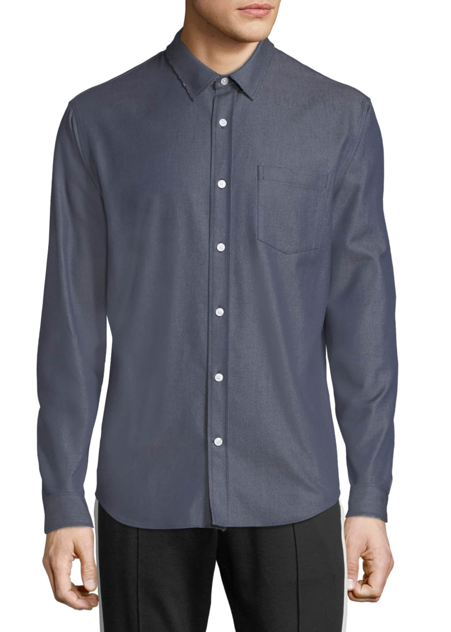 Image 1 of 4: Men's Button-Front Long-Sleeve Twill Shirt
