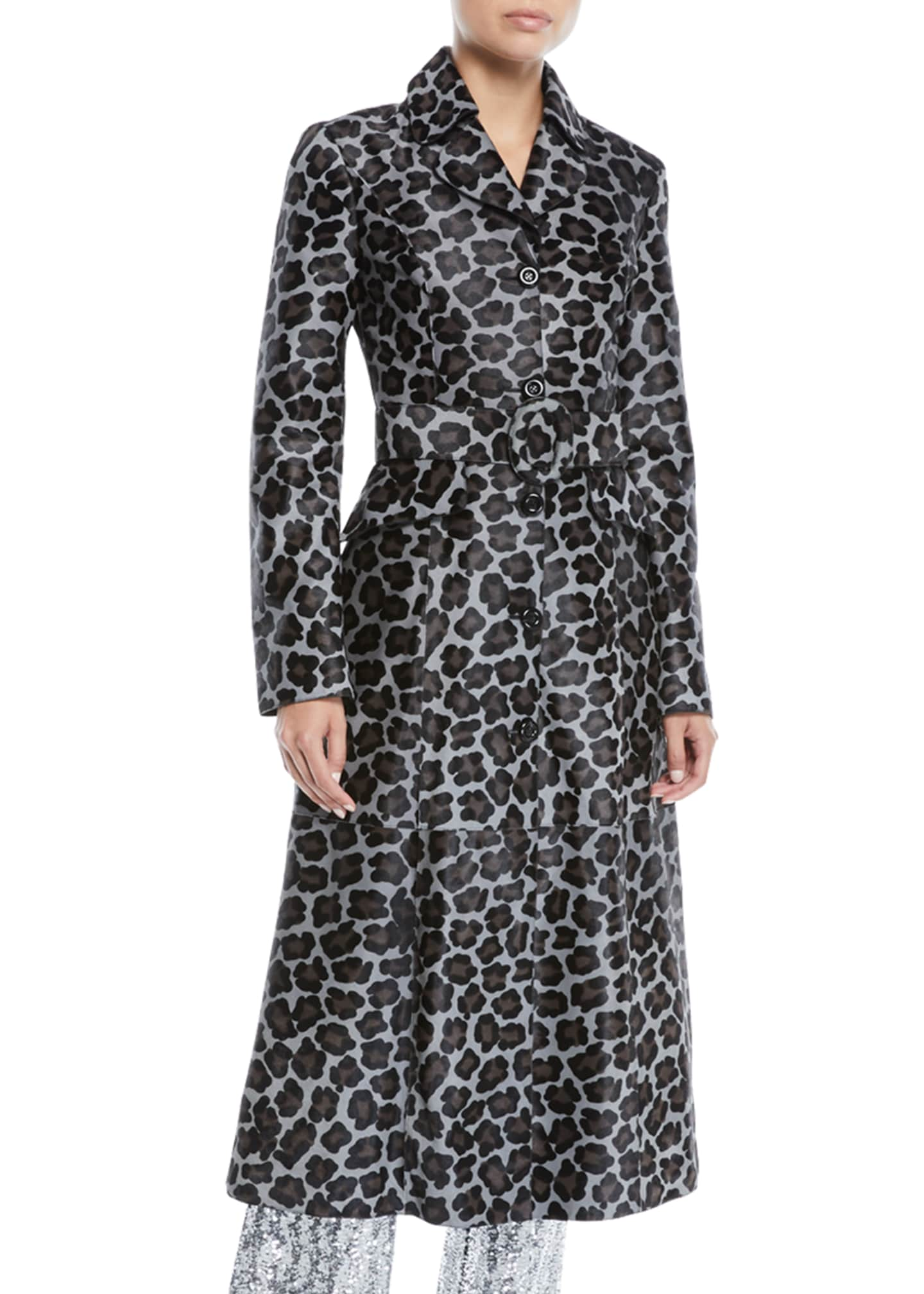 Michael Kors Collection Button-Front Belted Leopard-Print Calf