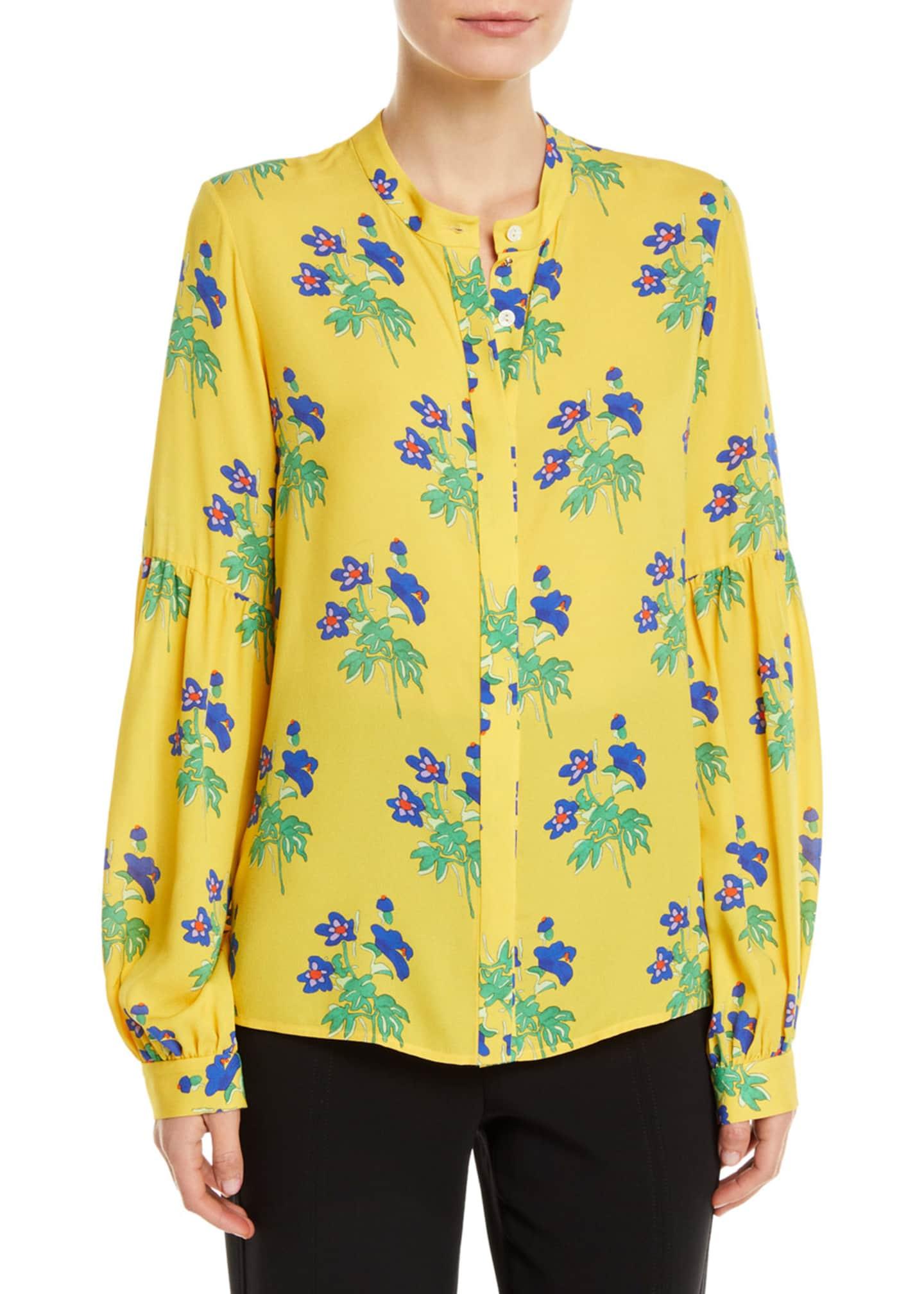 Novis Harlow Button-Front Long-Sleeve Floral-Print Silk Blouse