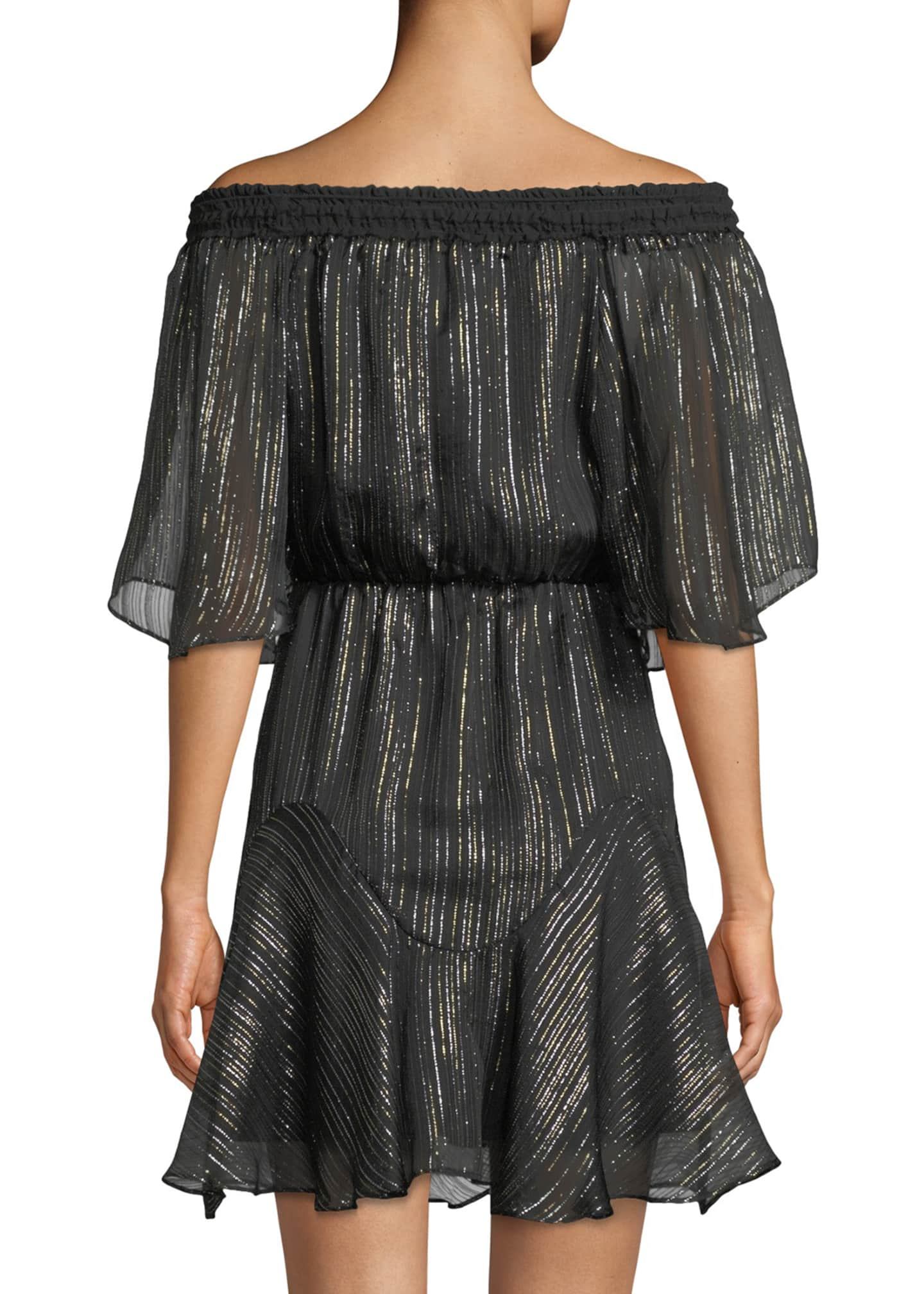 Image 2 of 3: Smocked Off-the-Shoulder Metallic Chiffon Dress