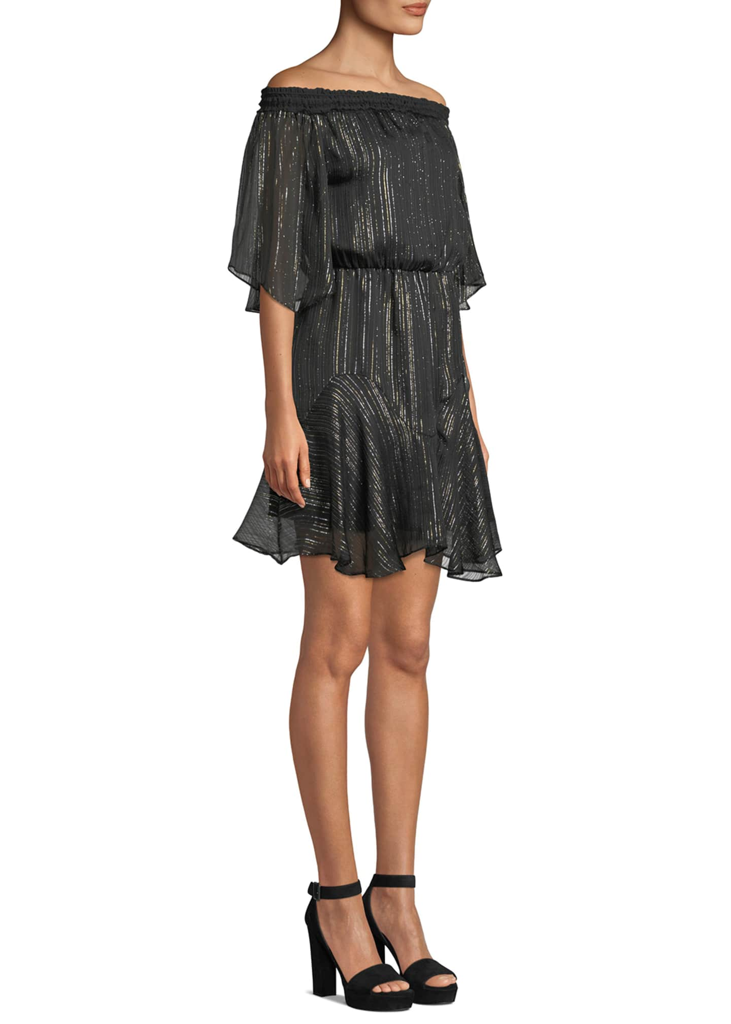Image 3 of 3: Smocked Off-the-Shoulder Metallic Chiffon Dress