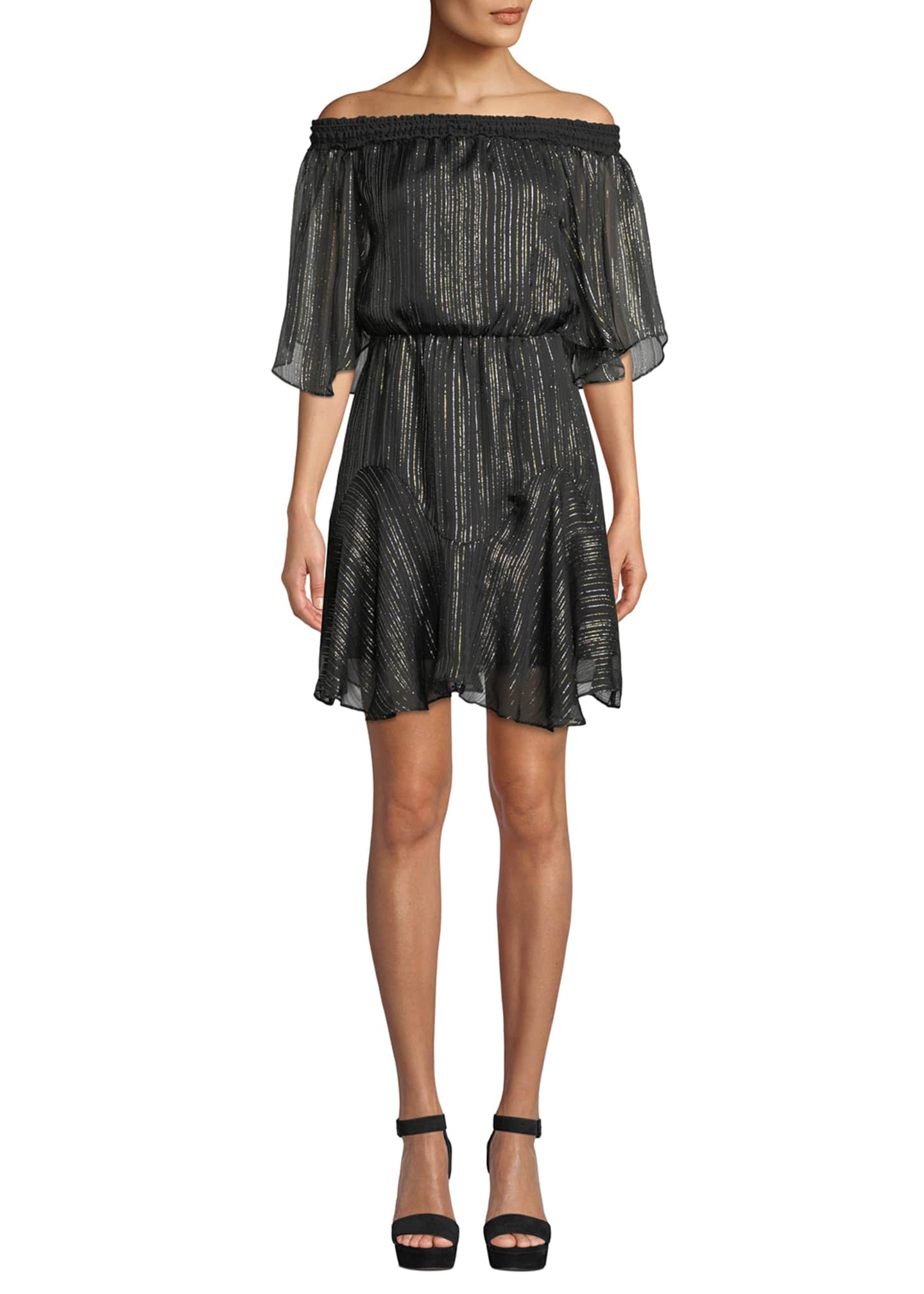 Image 1 of 3: Smocked Off-the-Shoulder Metallic Chiffon Dress