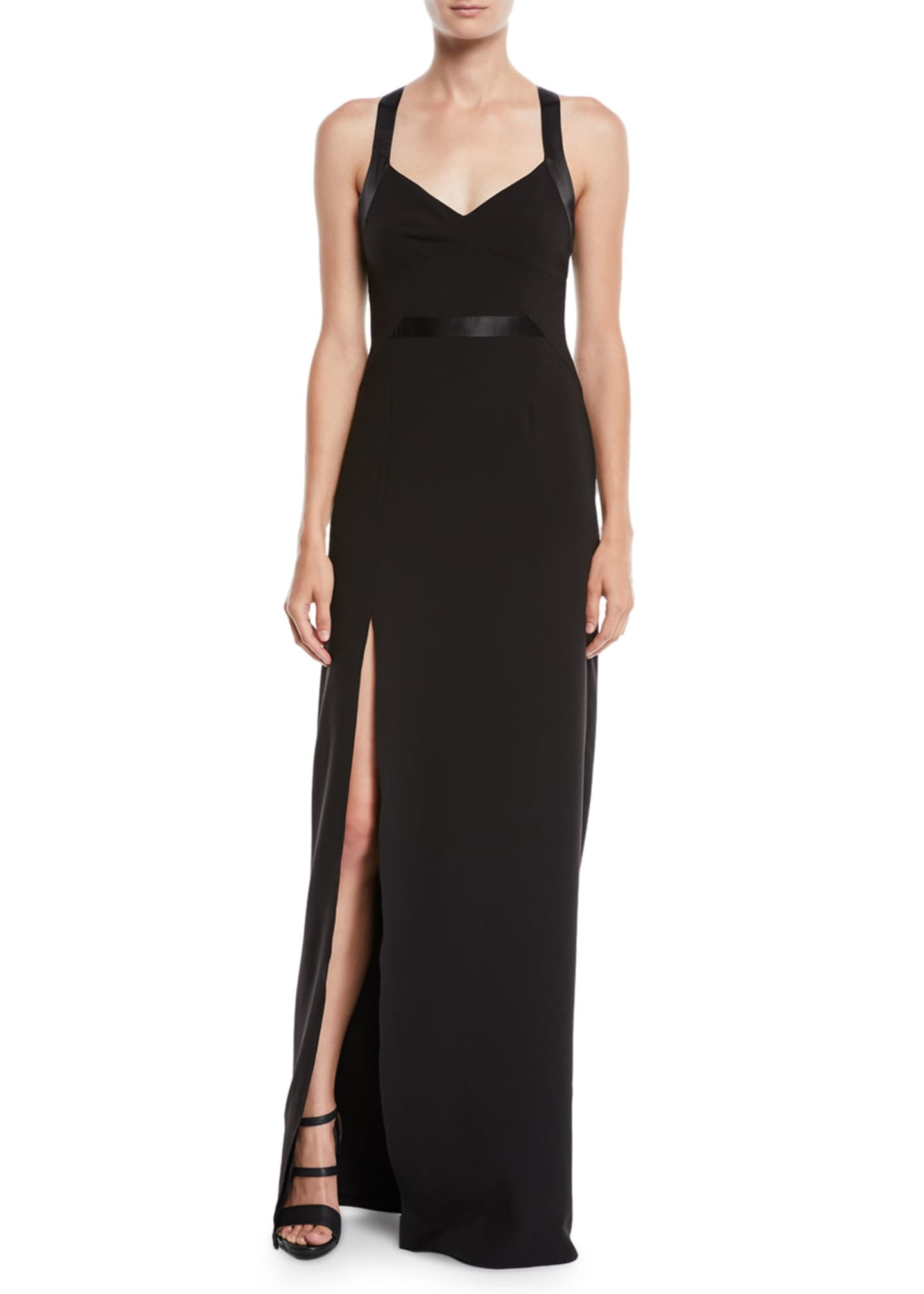 Halston Heritage Crepe V-Neck Gown w/ Satin Contrast