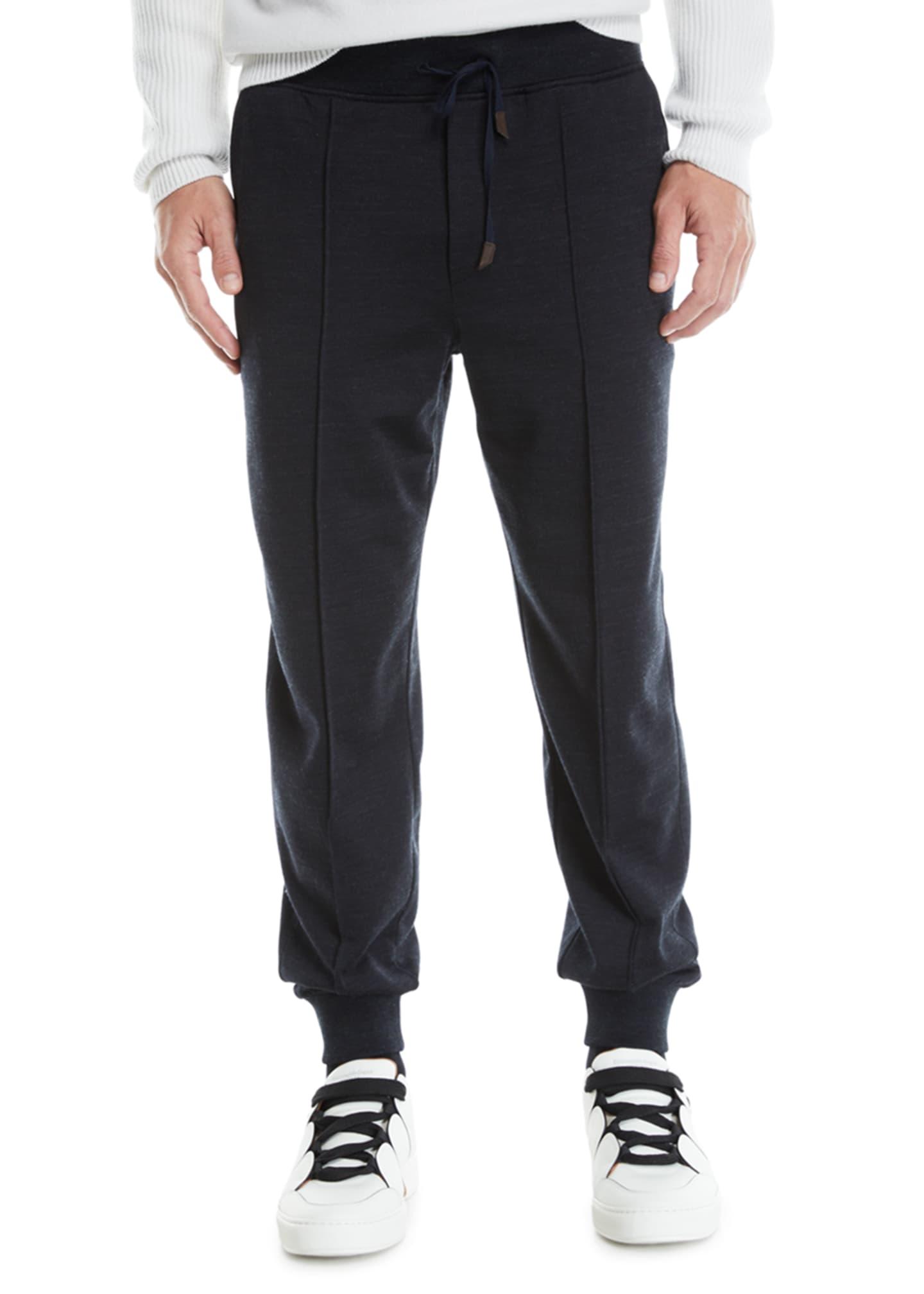 Ermenegildo Zegna Men's Front-Seam Jogger Pants