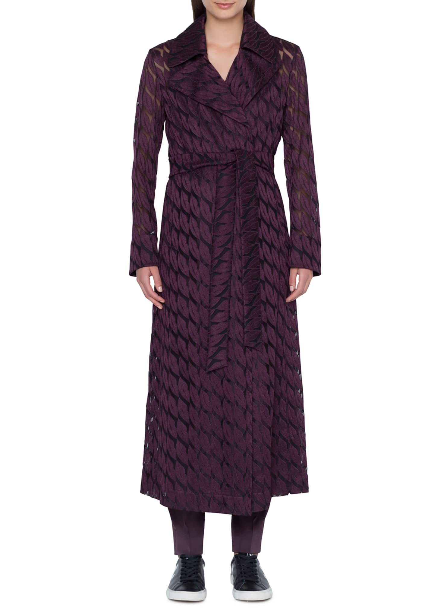 Akris Babylon Long Coat with Lips Embroidery