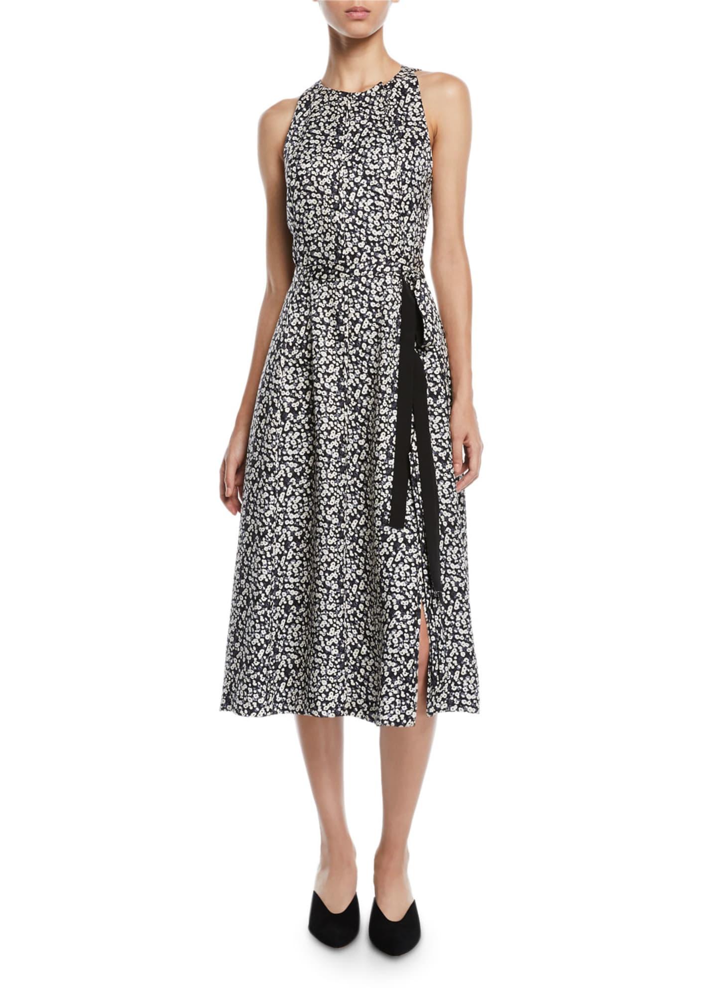 Derek Lam Sleeveless Poppy-Print Silk A-Line Dress w/