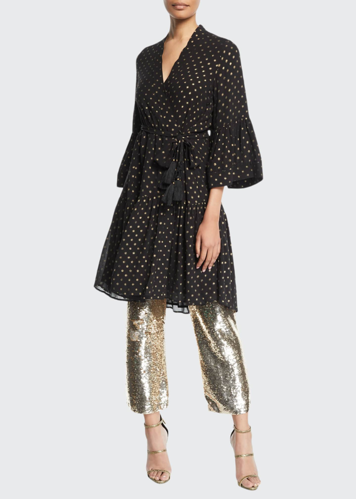 Figue Caroline Metallic Dot Kimono-Style Dress
