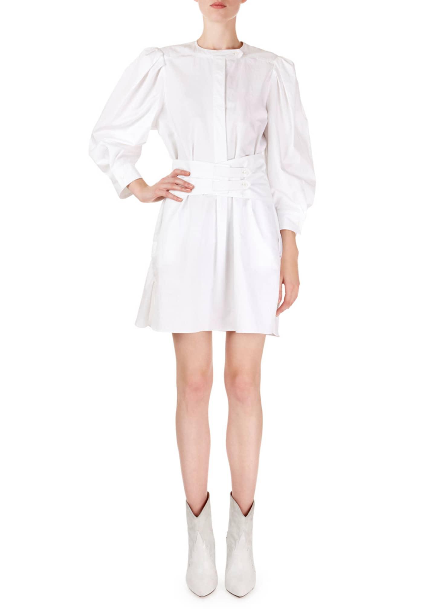Isabel Marant Galaxy Puff-Shoulder Mini Shirtdress