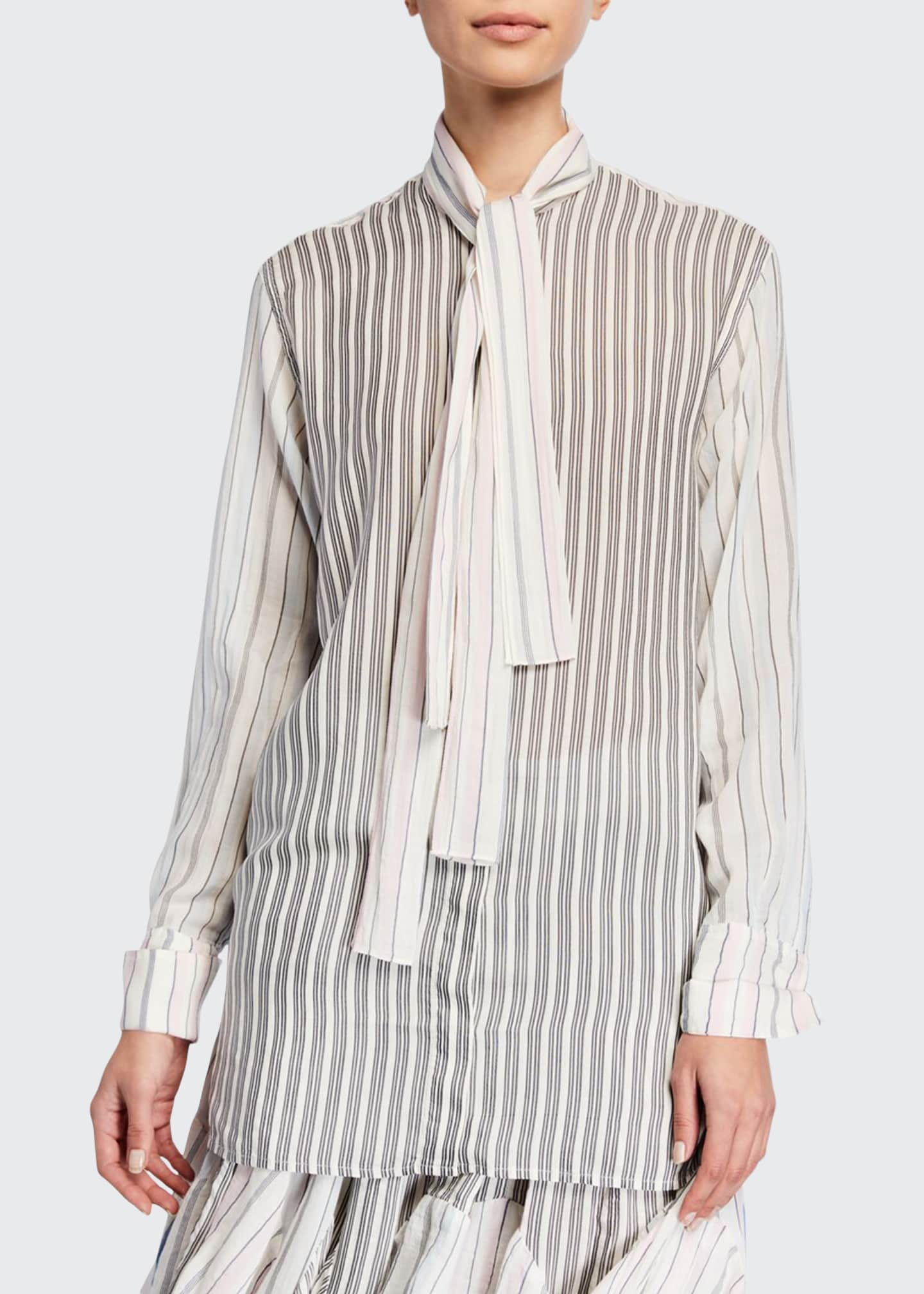 JW Anderson Tie-Neck Pajama-Striped Button-Front Shirt