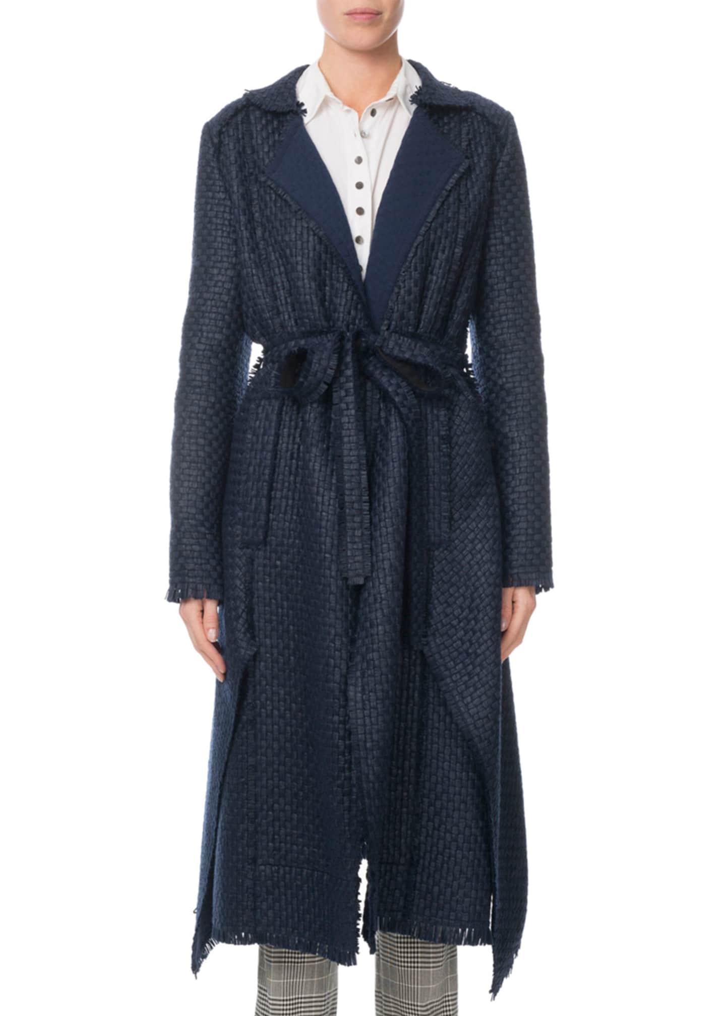 Roland Mouret Pullman Woven Tie-Waist Coat