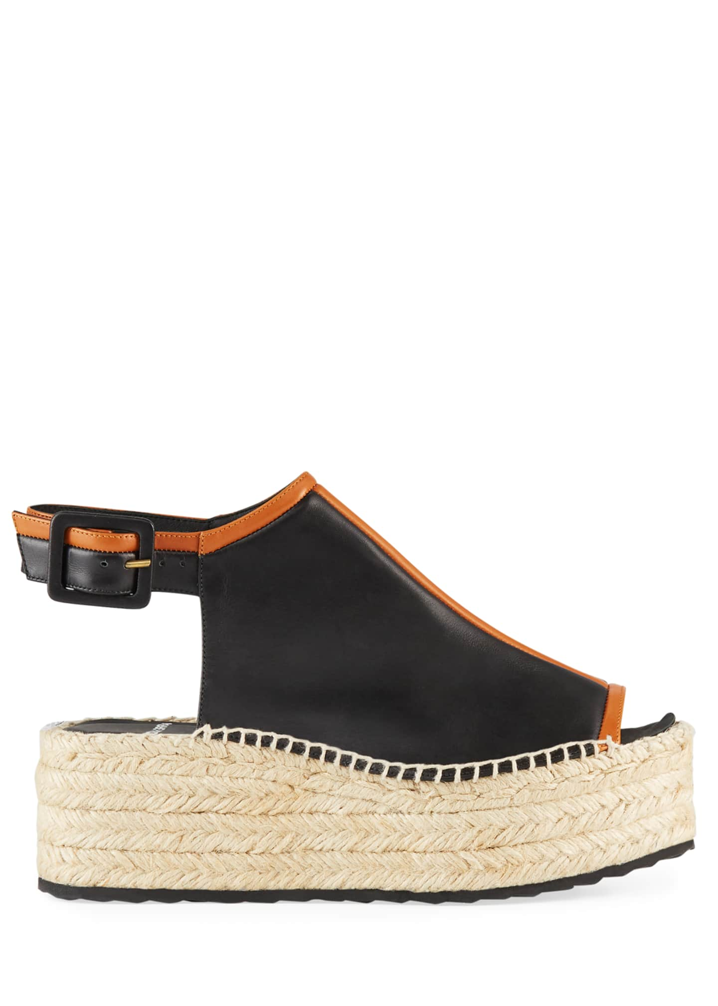 Image 2 of 3: Alpha Two-Tone Leather Espadrilles