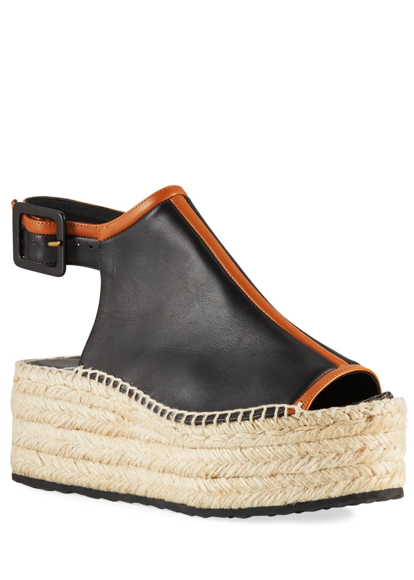 Image 1 of 3: Alpha Two-Tone Leather Espadrilles