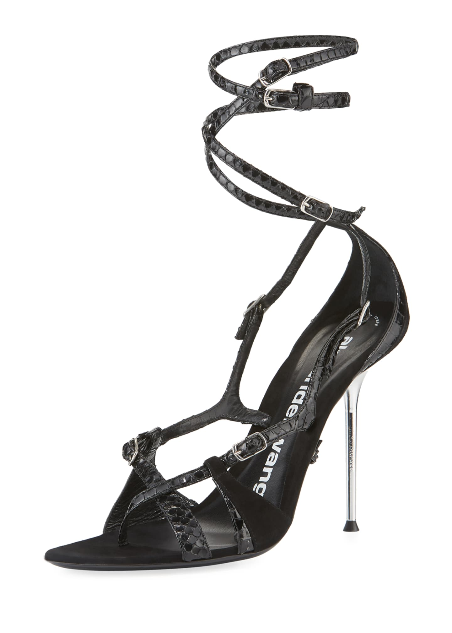 Alexander Wang Kiely Strappy Snake-Print Leather-Suede Ankle-Wrap