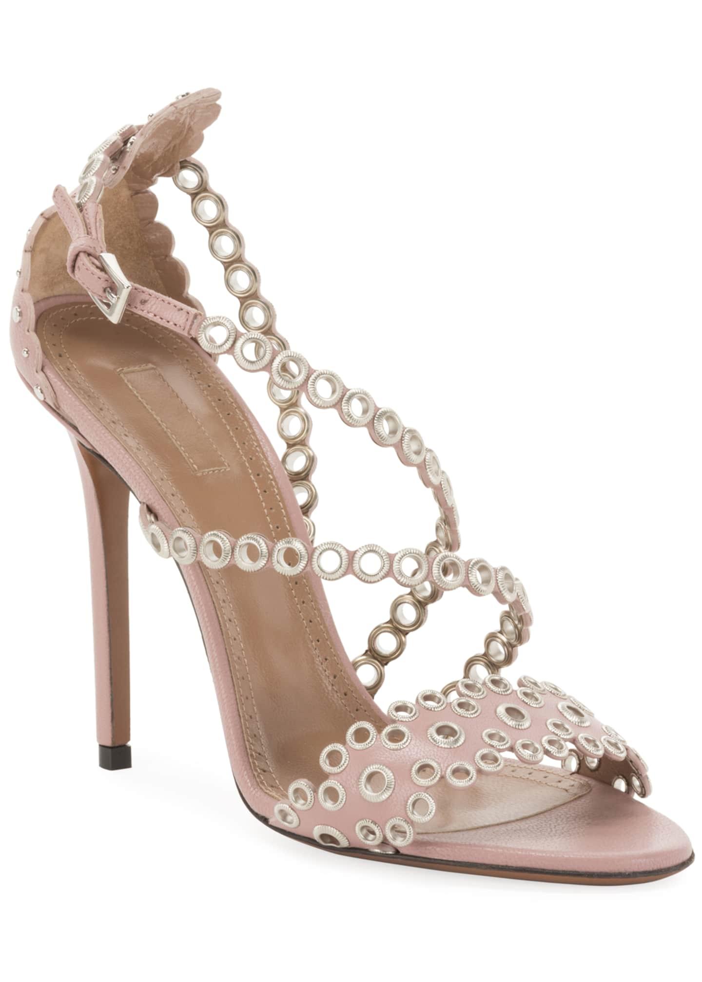 ALAIA Grommet Crisscross 110mm Leather Sandals