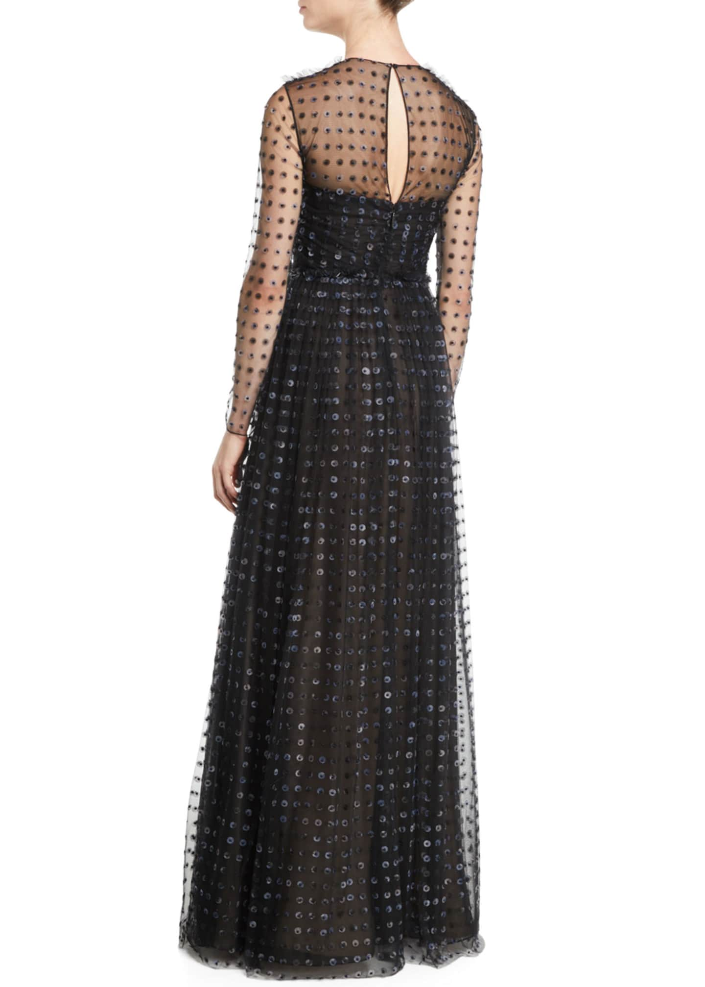 Image 2 of 2: Organza Dot-Embroidered Tulle Evening Gown