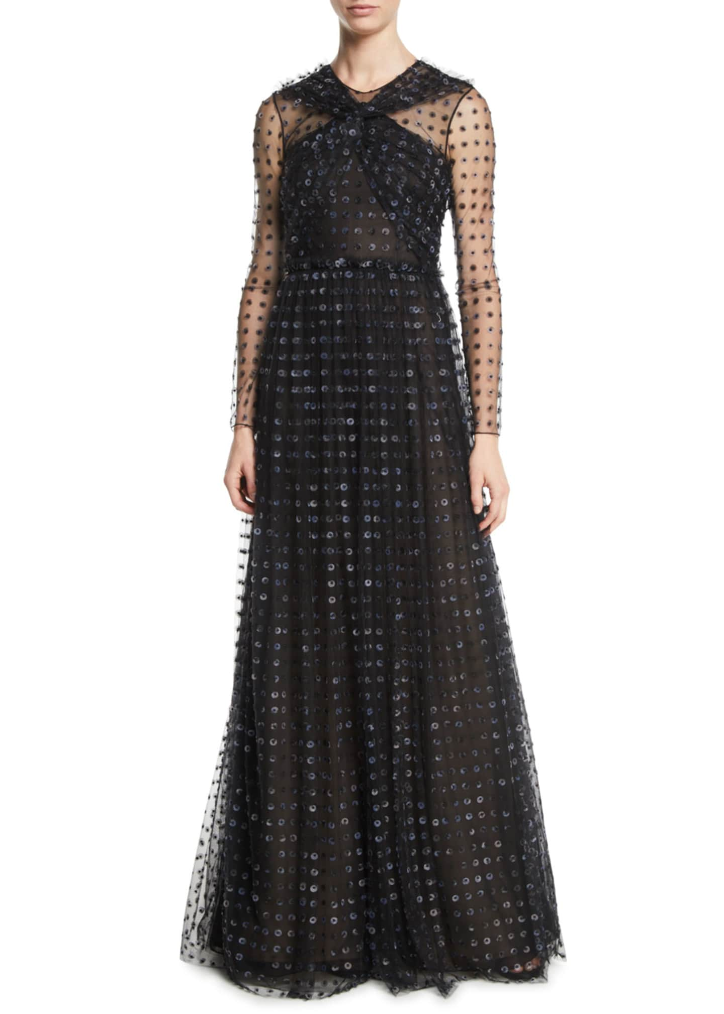 Image 1 of 2: Organza Dot-Embroidered Tulle Evening Gown