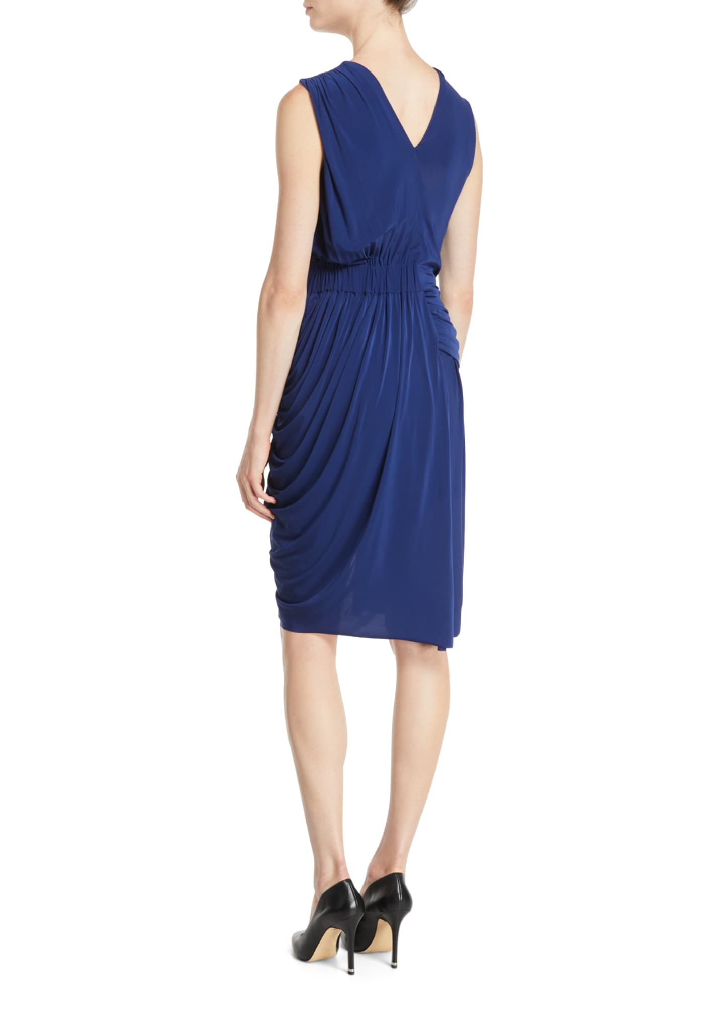 Image 2 of 2: Sleeveless Ruched Fluid Evening Jersey Sheath Dress