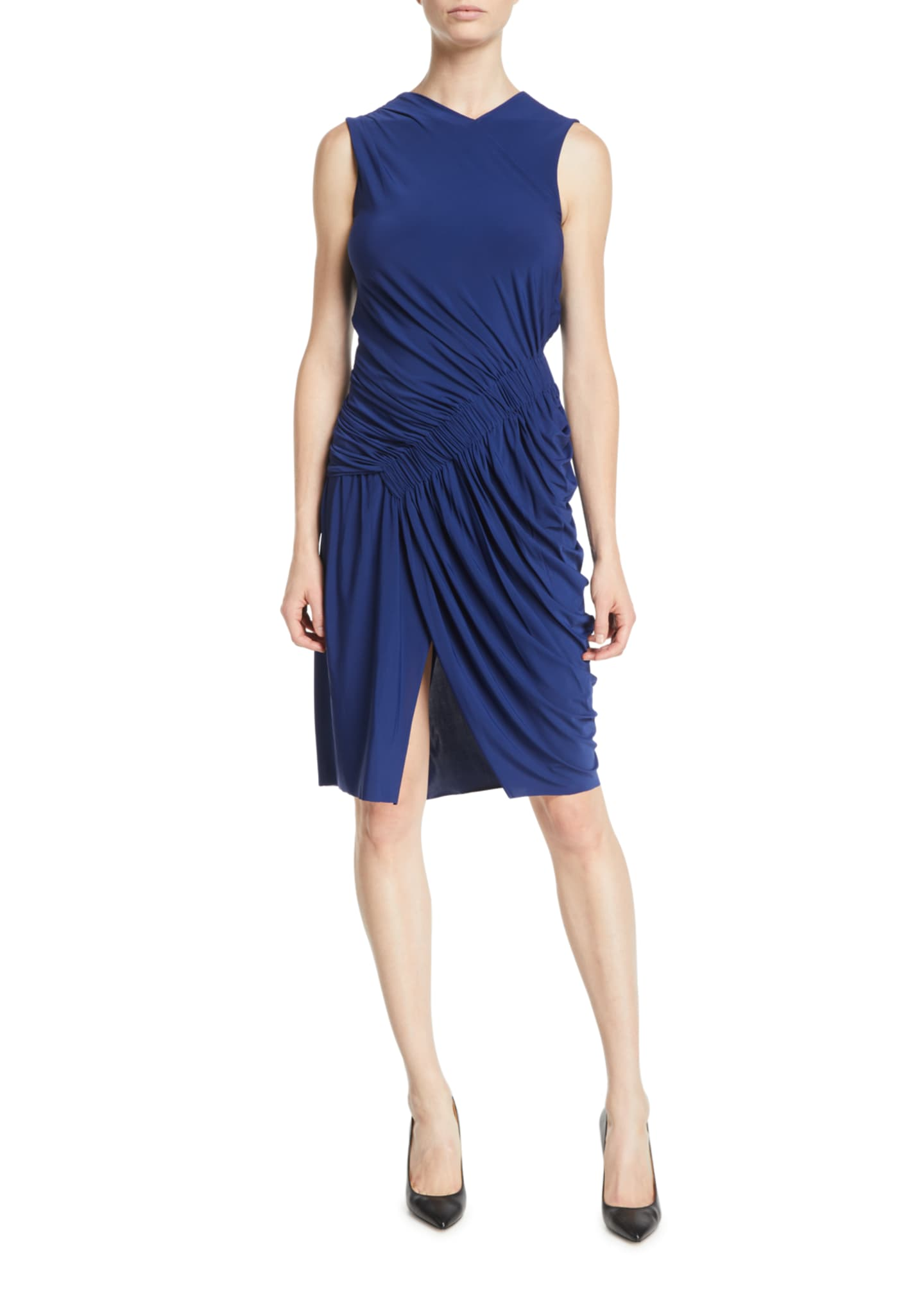 Sleeveless Ruched Fluid Evening Jersey Sheath Dress
