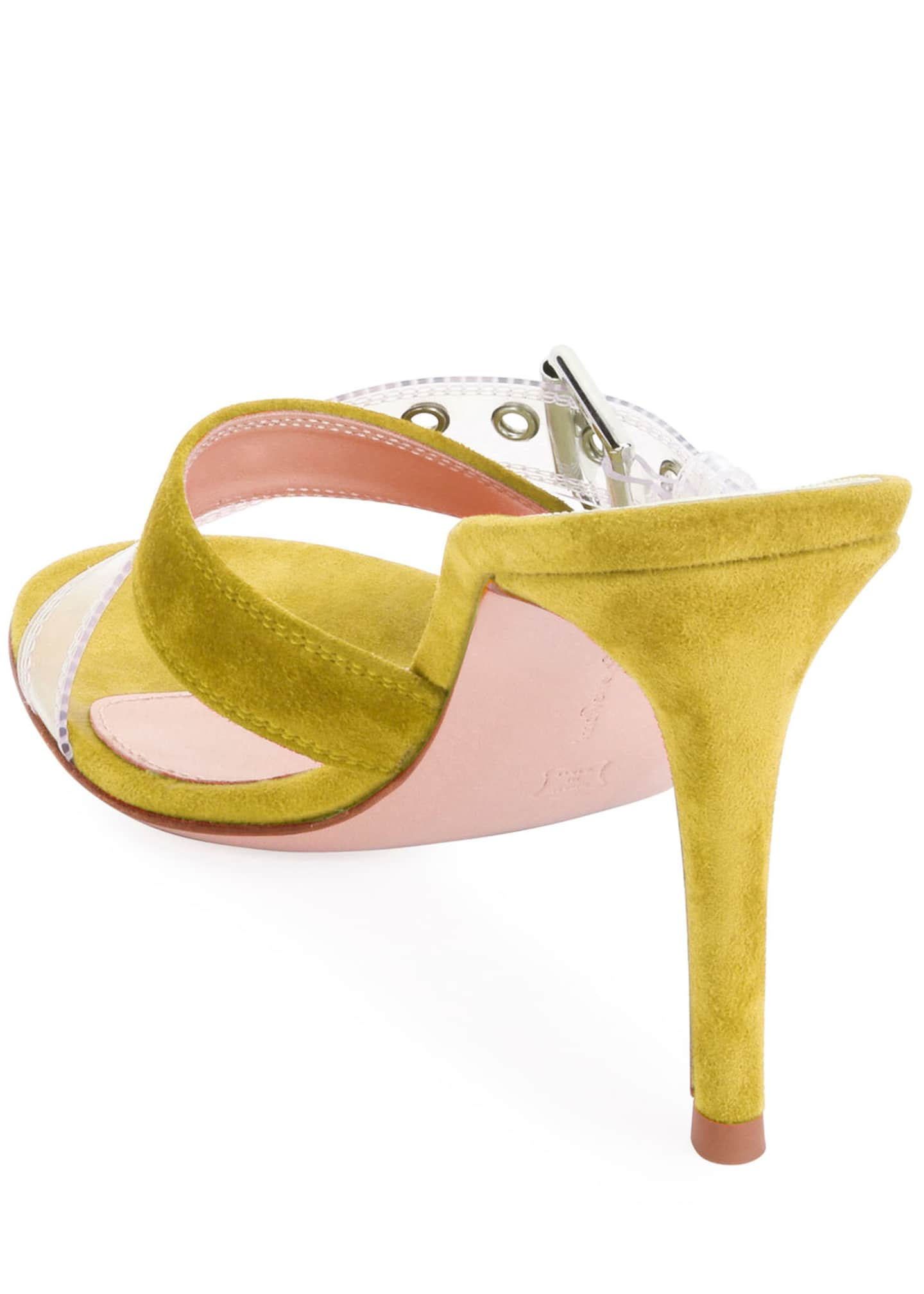 Image 3 of 4: Suede Sandals with Plexi Buckle