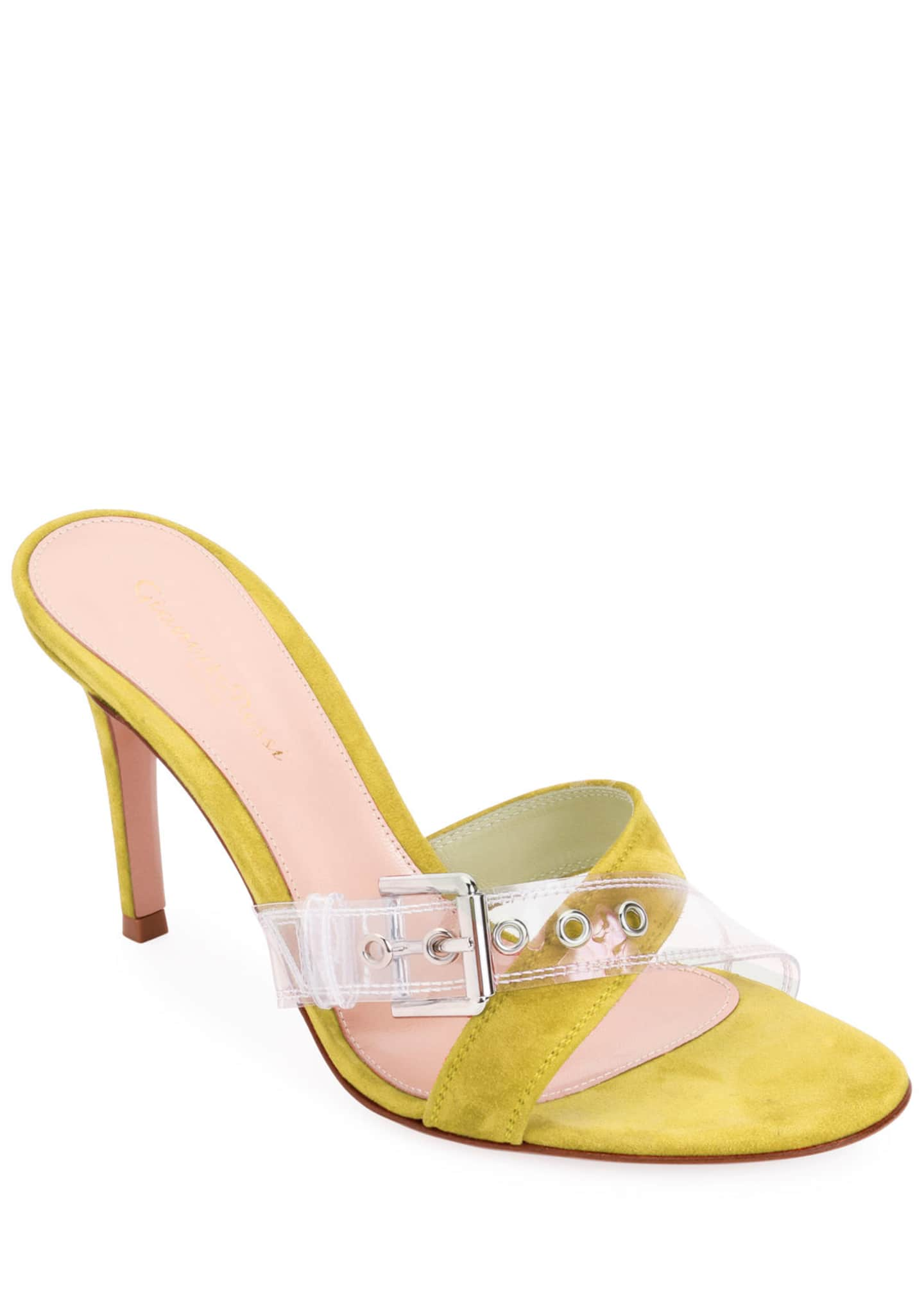 Image 1 of 4: Suede Sandals with Plexi Buckle