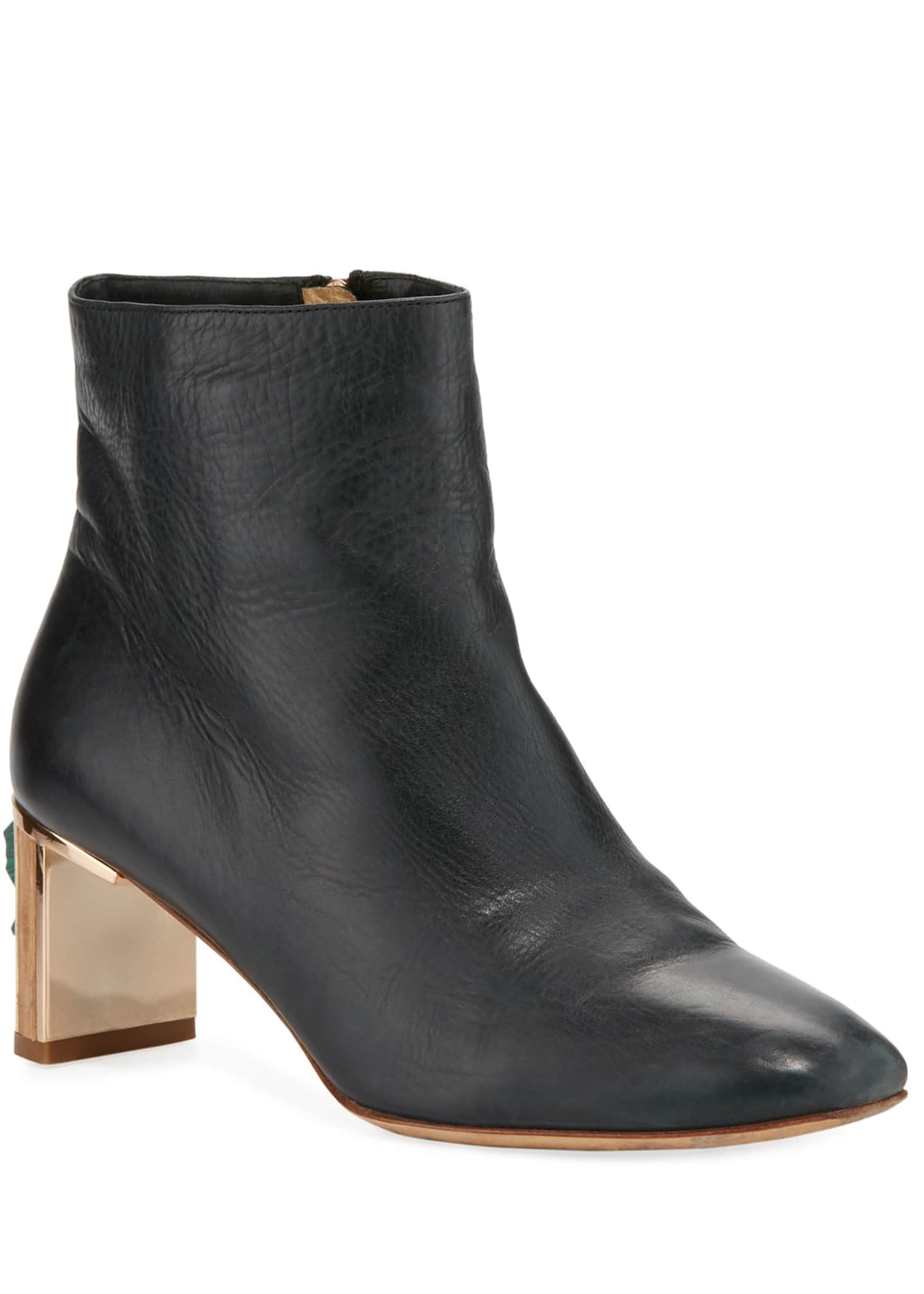 Gabriela Hearst Ruben Combat Boots w/ Jeweled Heel