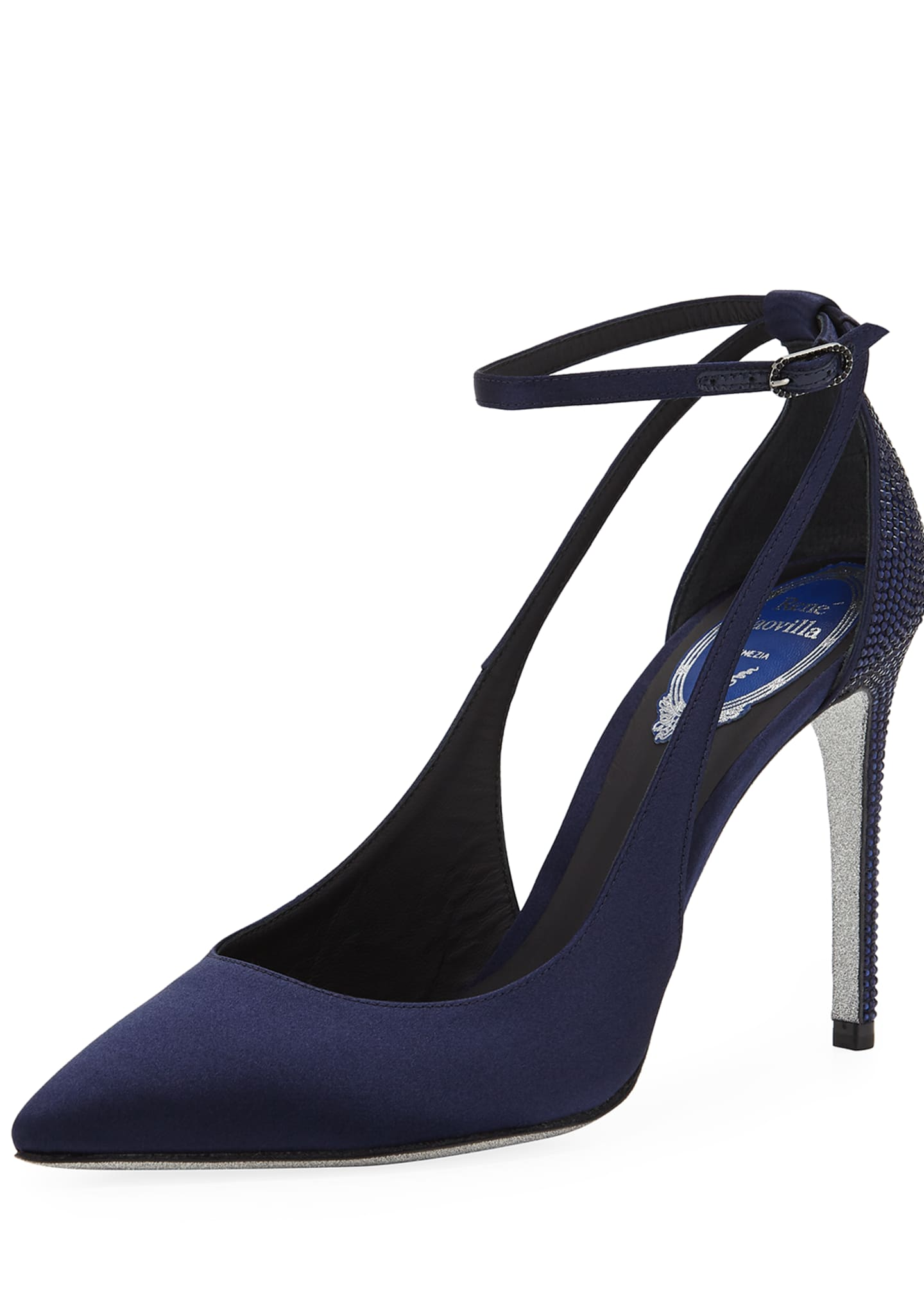 Rene Caovilla Evania Satin Pointed Pumps